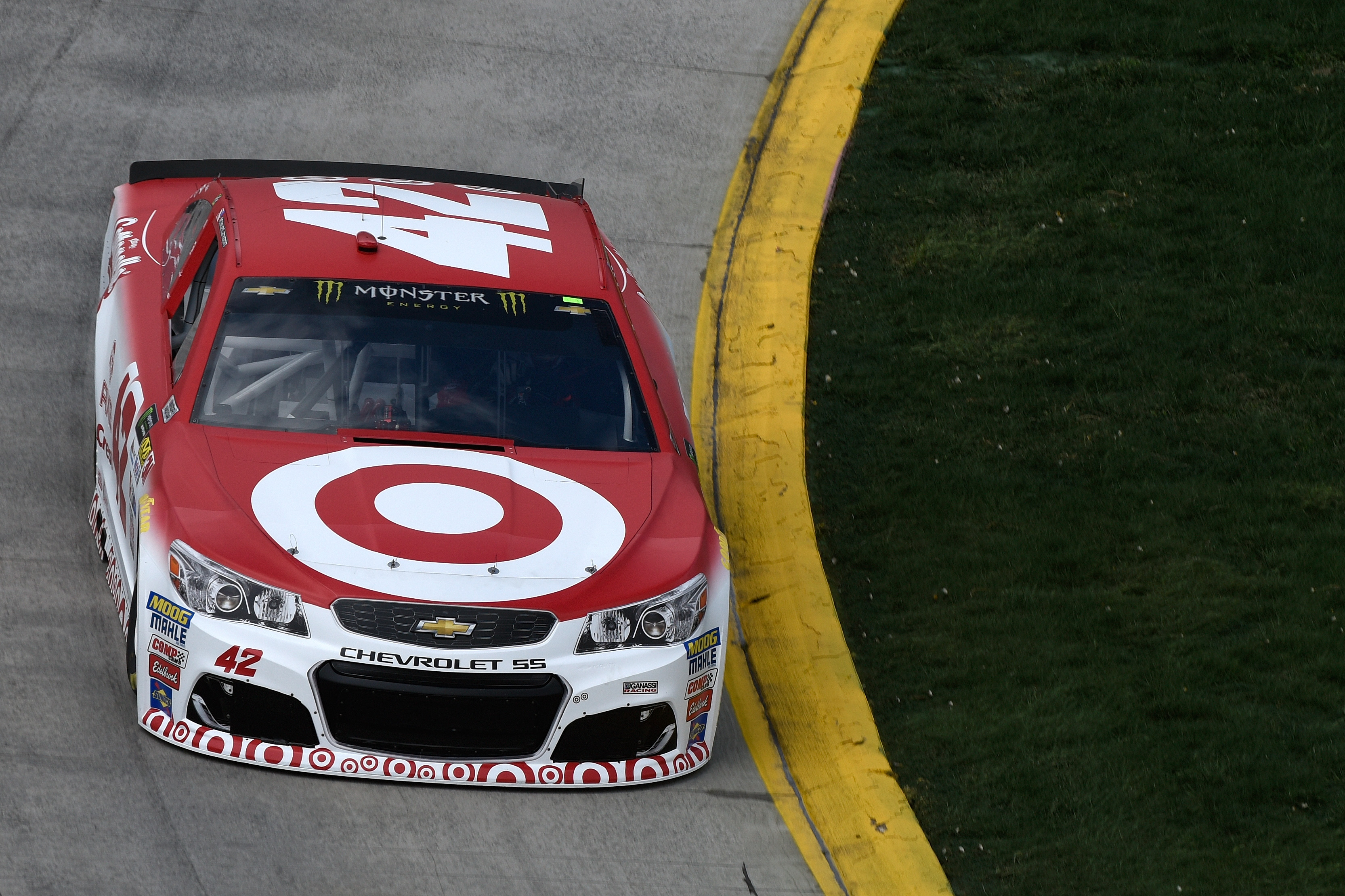 MARTINSVILLE, VA - MARCH 31: Kyle Larson, driver of the #42 Target Chevrolet, practices for the Monster Energy NASCAR Cup Series STP 500 at Martinsville Speedway on March 31, 2017 in Martinsville, Virginia.  (Photo by Jared C. Tilton/Getty Images)