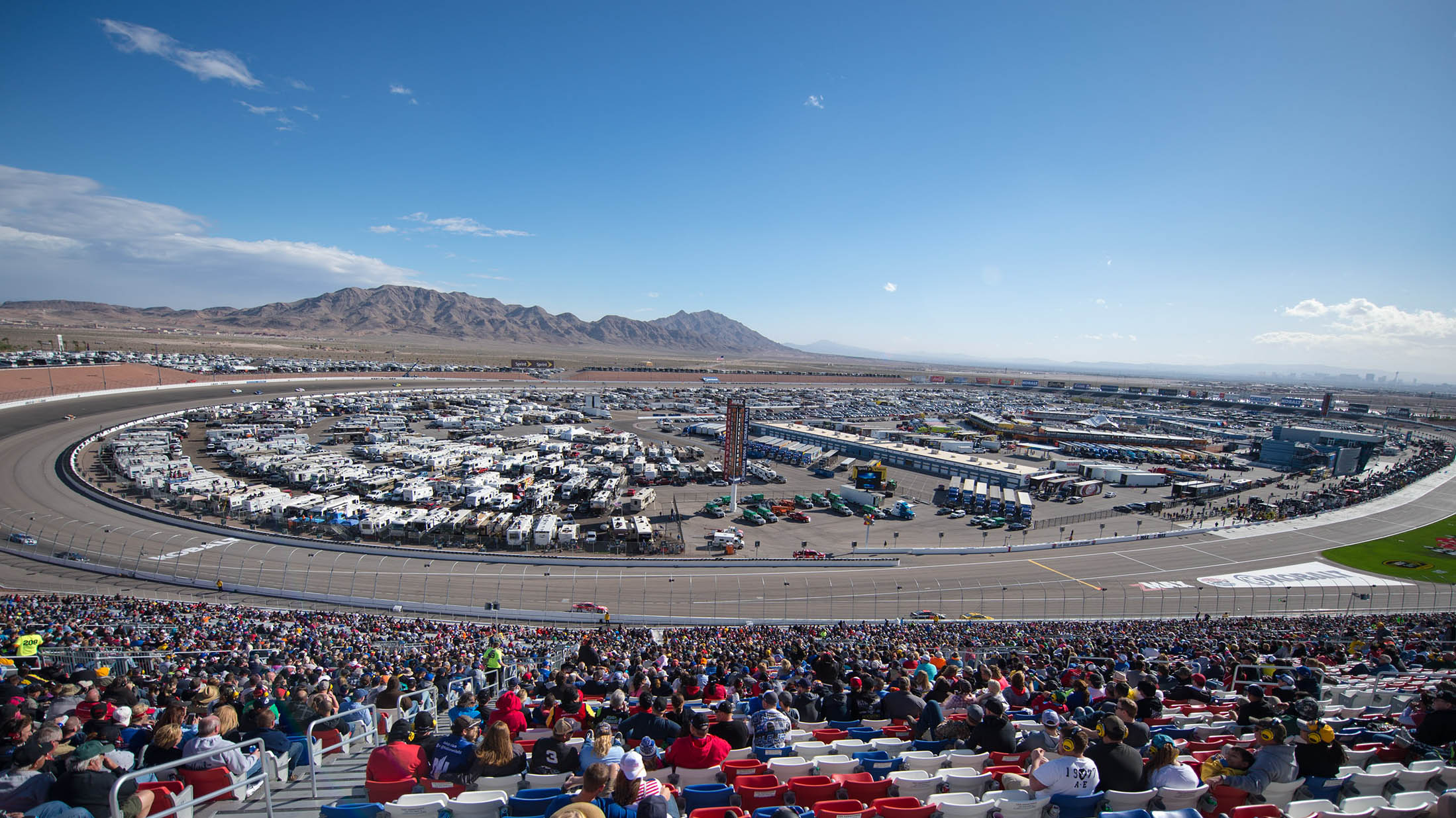 Mar 6, 2016; Las Vegas, NV, USA; Fans look on during the Kobalt 400 at Las Vegas Motor Speedway. Mandatory Credit: Stephen R. Sylvanie-USA TODAY Sports