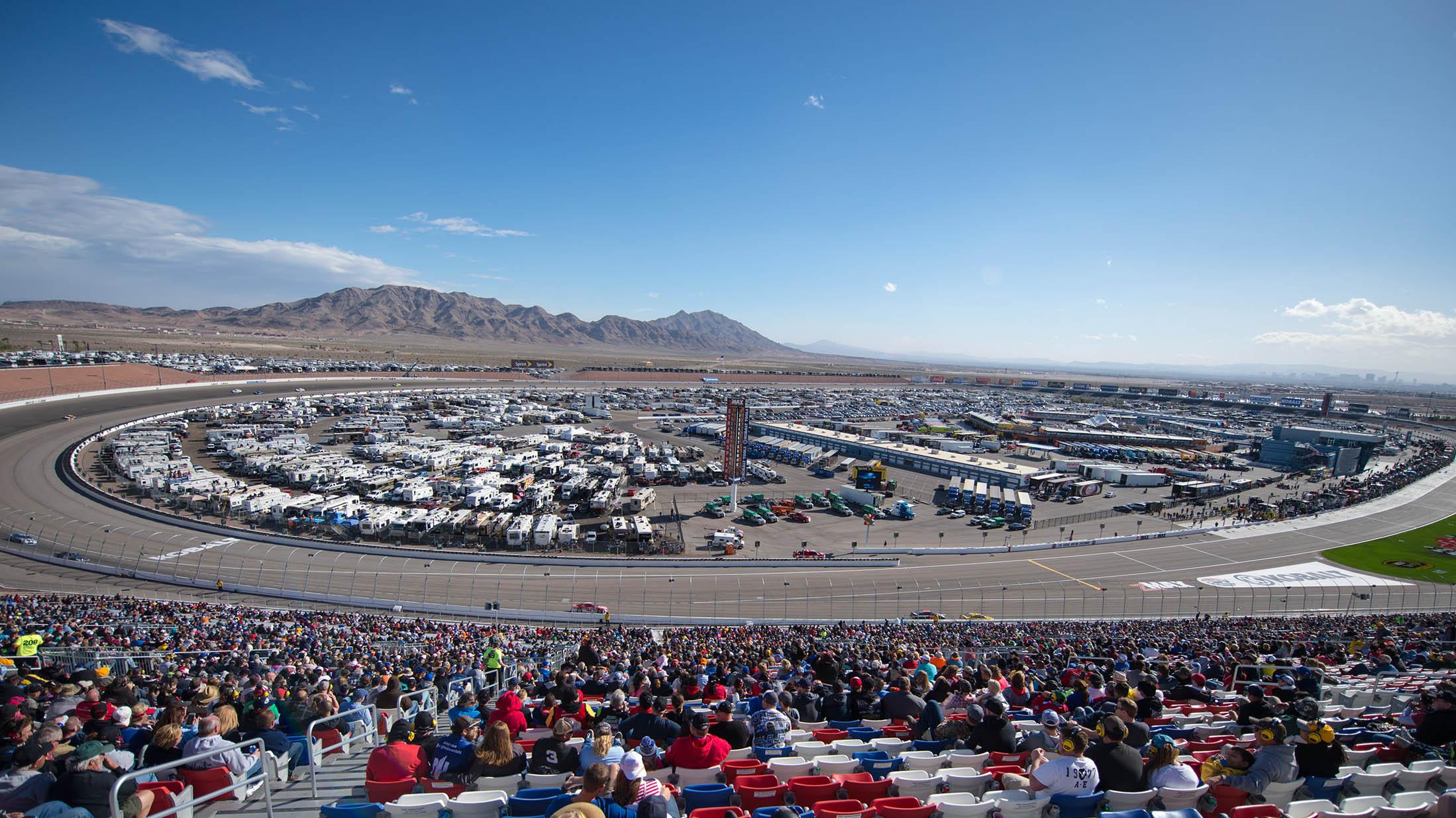 Mar 6, 2016; Las Vegas, NV, USA; Fans look on during the Kobalt 400 at Las Vegas Motor Speedway. Mandatory Credit: Stephen R. Sylvanie-USA TODAY Sports