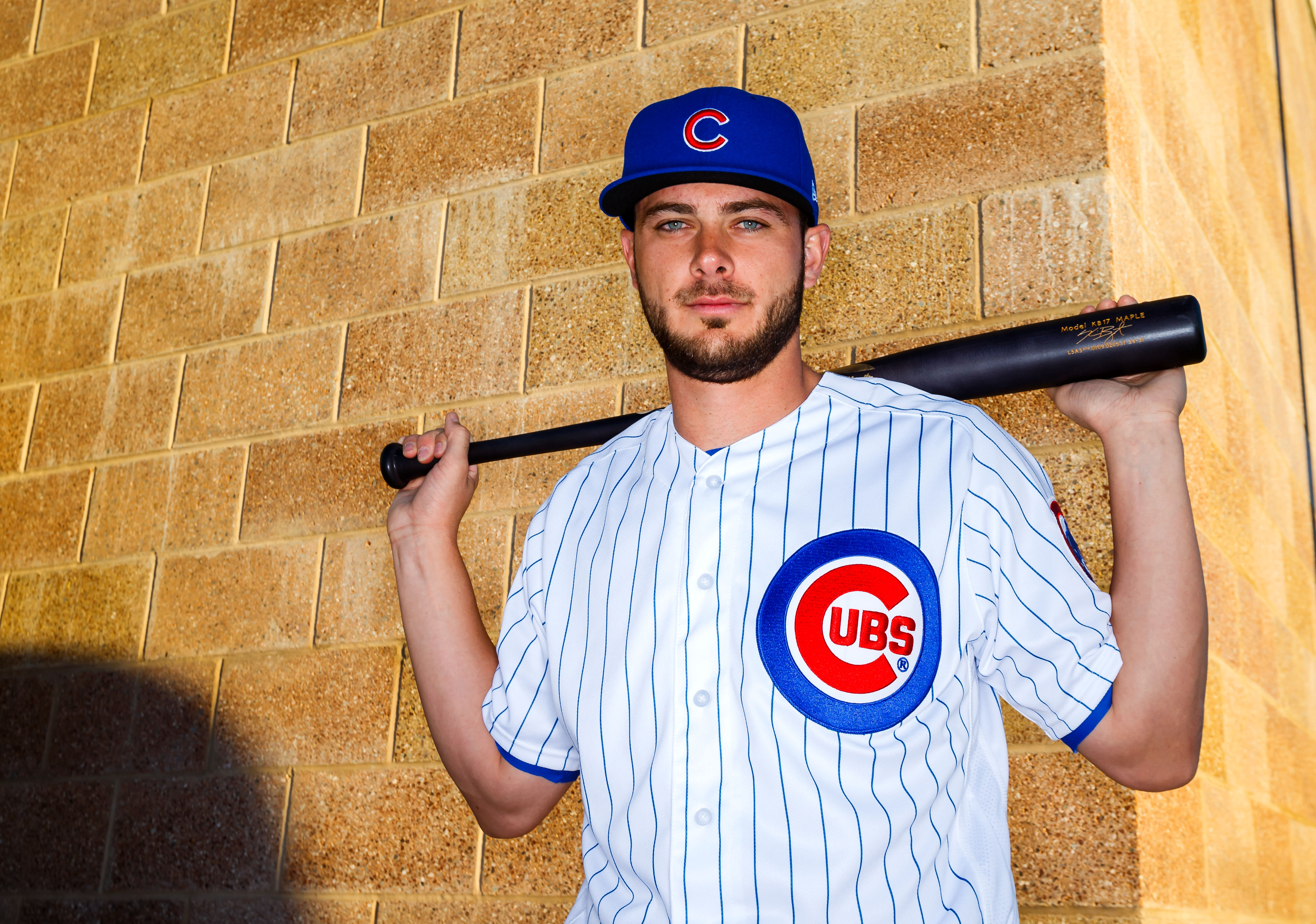 Feb 21, 2017; Mesa, AZ, USA; Chicago Cubs third baseman Kris Bryant poses for a portrait during photo day at Sloan Park. Mandatory Credit: Mark J. Rebilas-USA TODAY Sports