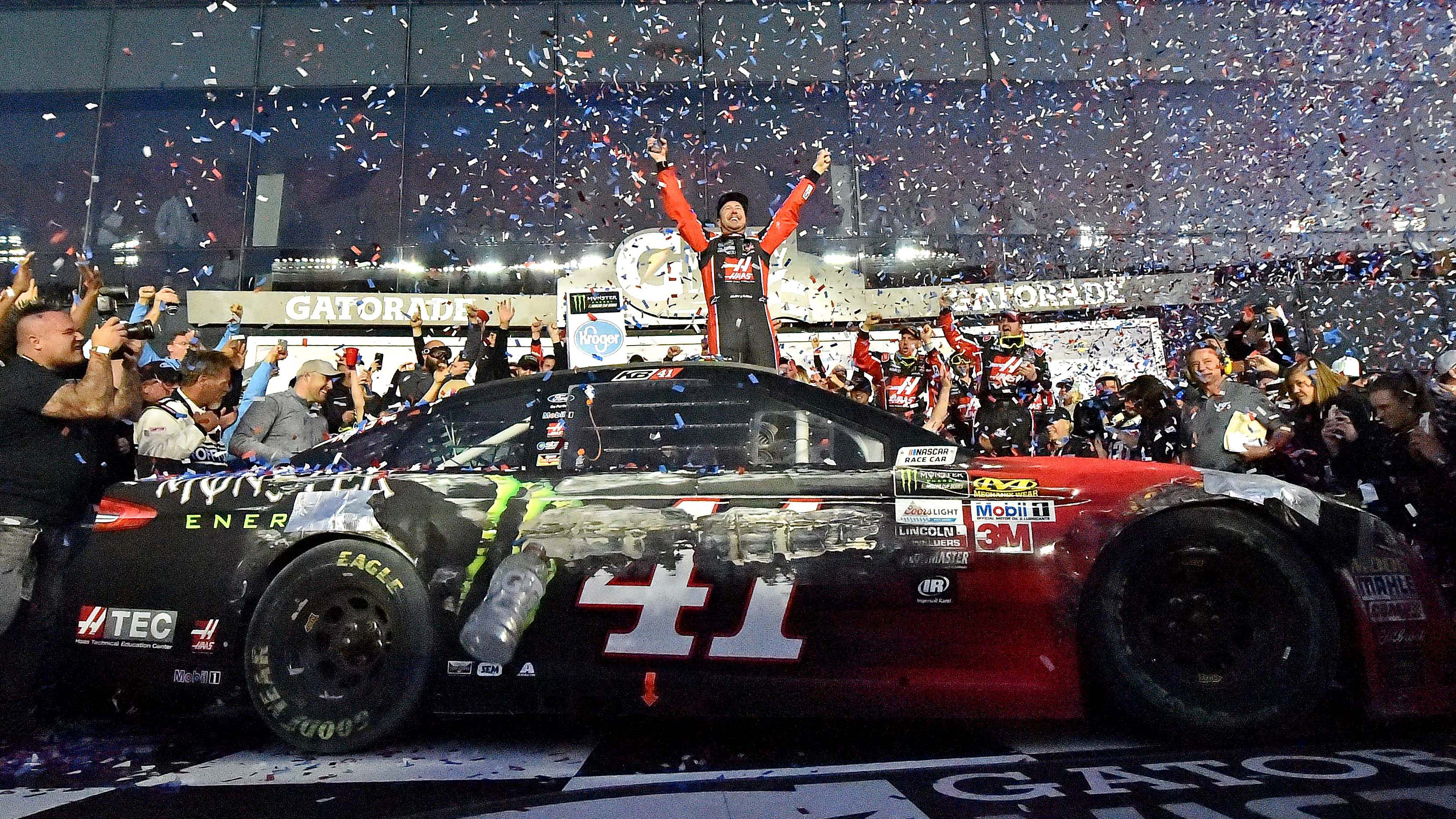 Feb 26, 2017; Daytona Beach, FL, USA; NASCAR Cup Series driver Kurt Busch (41) celebrates winning the 2017 Daytona 500 at Daytona International Speedway. Mandatory Credit: Jasen Vinlove-USA TODAY Sports