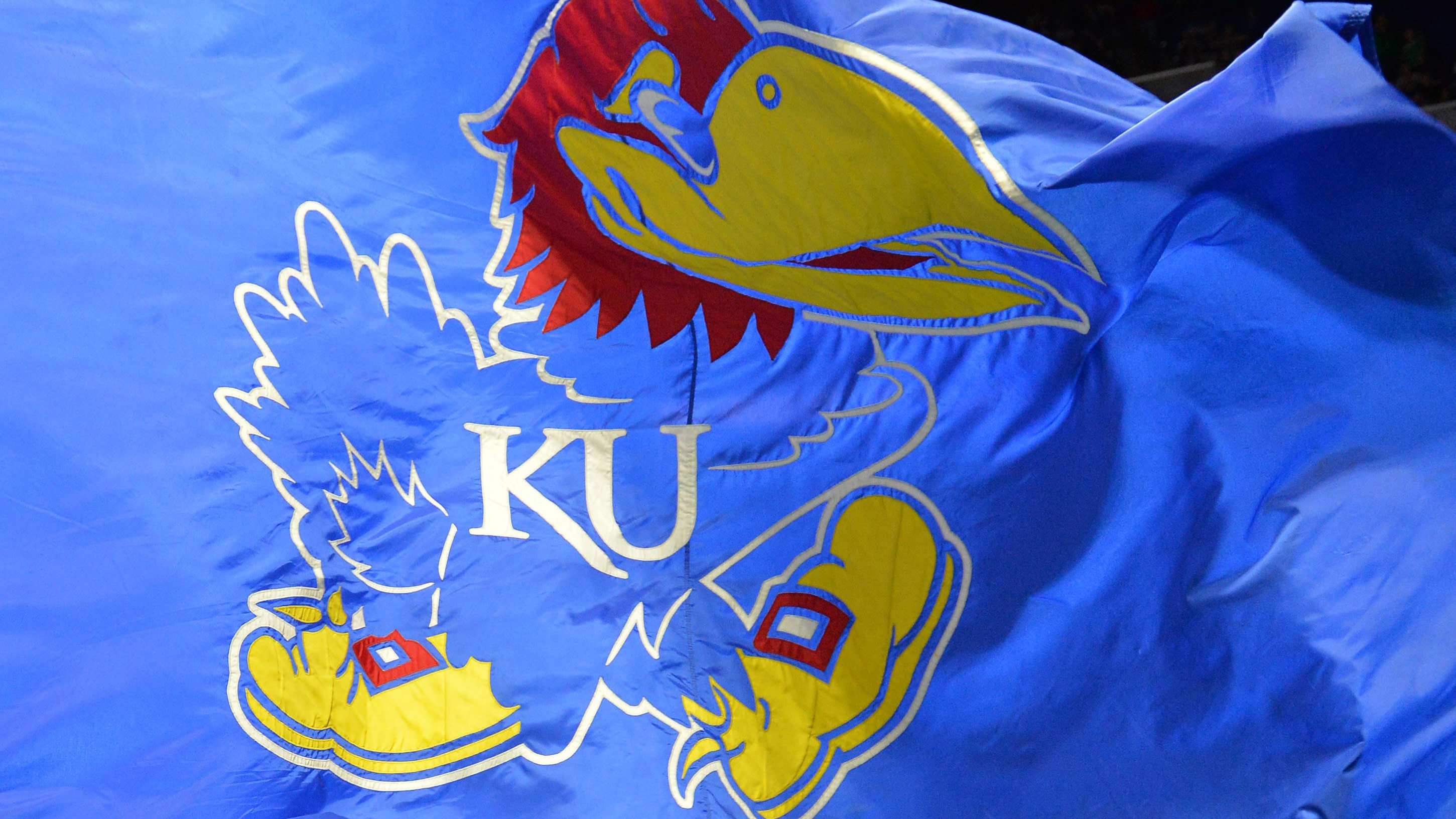 Mar 17, 2017; Tulsa, OK, USA; View of the Kansas Jayhawks flag during the second half against the UC Davis Aggies in the first round of the 2017 NCAA Tournament at BOK Center. Mandatory Credit: Brett Rojo-USA TODAY Sports