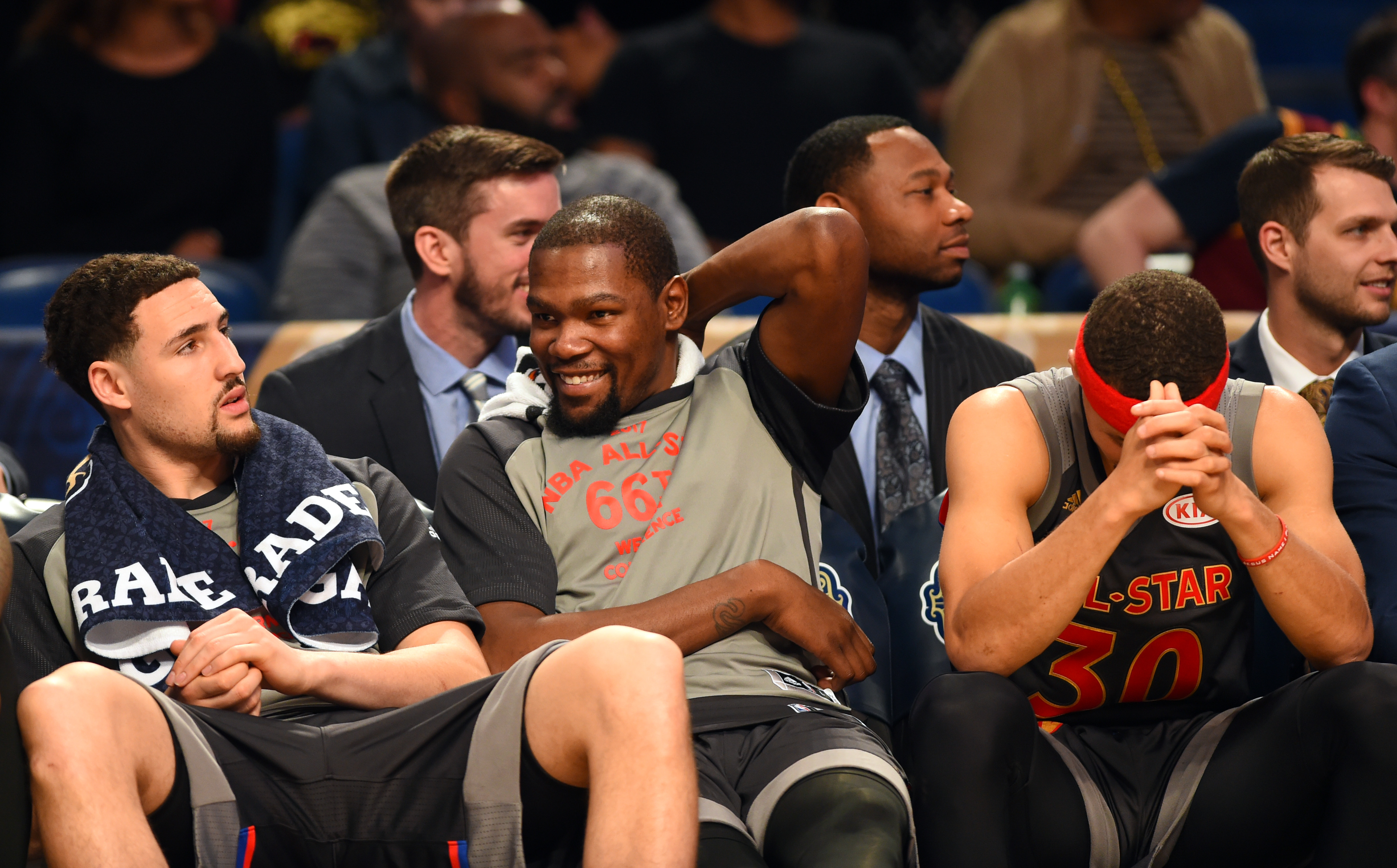 Feb 19, 2017; New Orleans, LA, USA; Western Conference guard Klay Thompson of the Golden State Warriors (11), Western Conference forward Kevin Durant of the Golden State Warriors (35) and Western Conference guard Stephen Curry of the Golden State Warriors (30) sit on the bench in the 2017 NBA All-Star Game at Smoothie King Center. Mandatory Credit: Bob Donnan-USA TODAY Sports