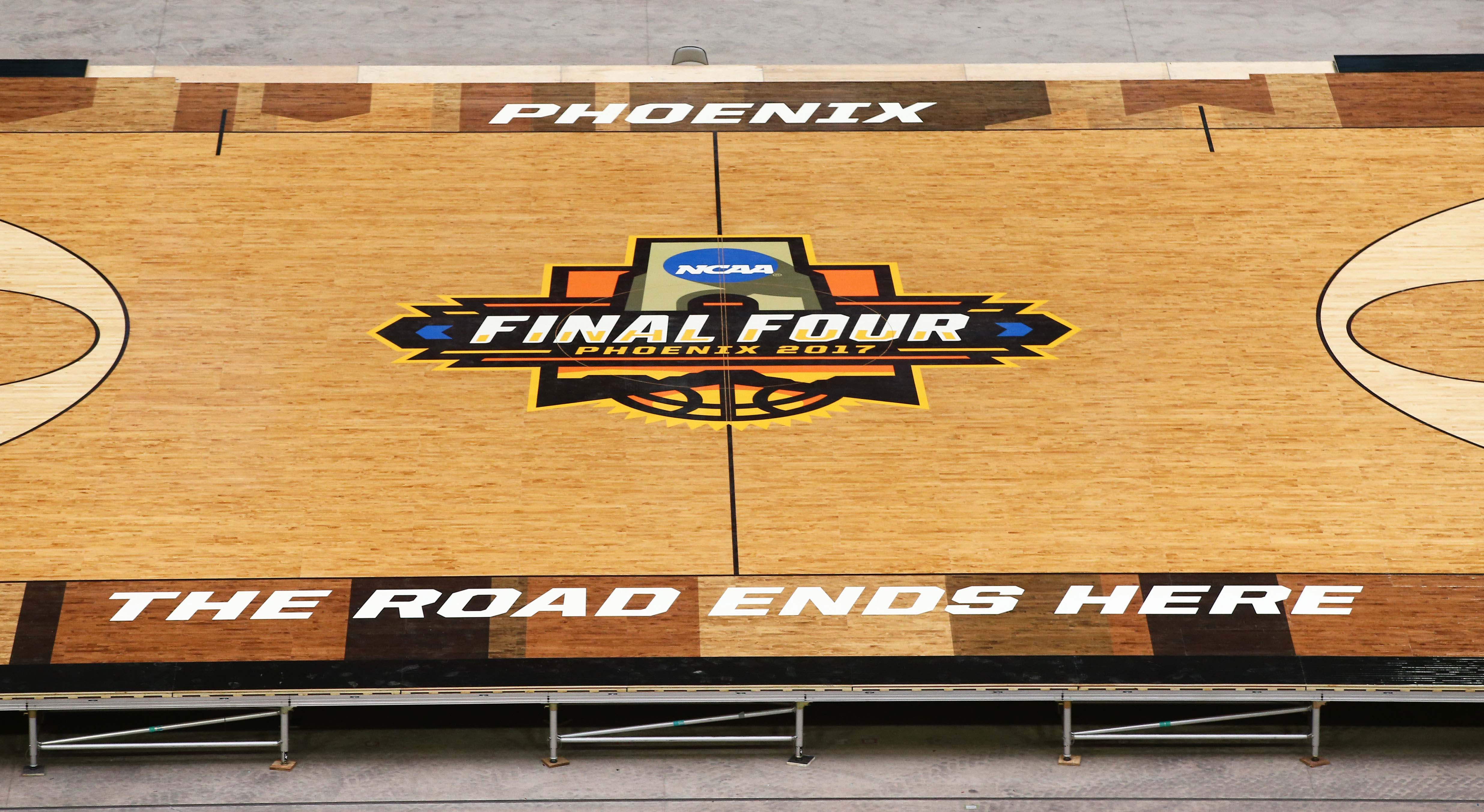Mar 24, 2017; Glendale, AZ, USA; The basketball court for the NCAA Men's Final Four at University of Phoenix Stadium. The court is made from 397 4' x 7' panels of Northern Hard Maple, weighing approximately 188 pounds each. Mandatory Credit: Rob Schumacher/The Arizona Republic via USA TODAY NETWORK