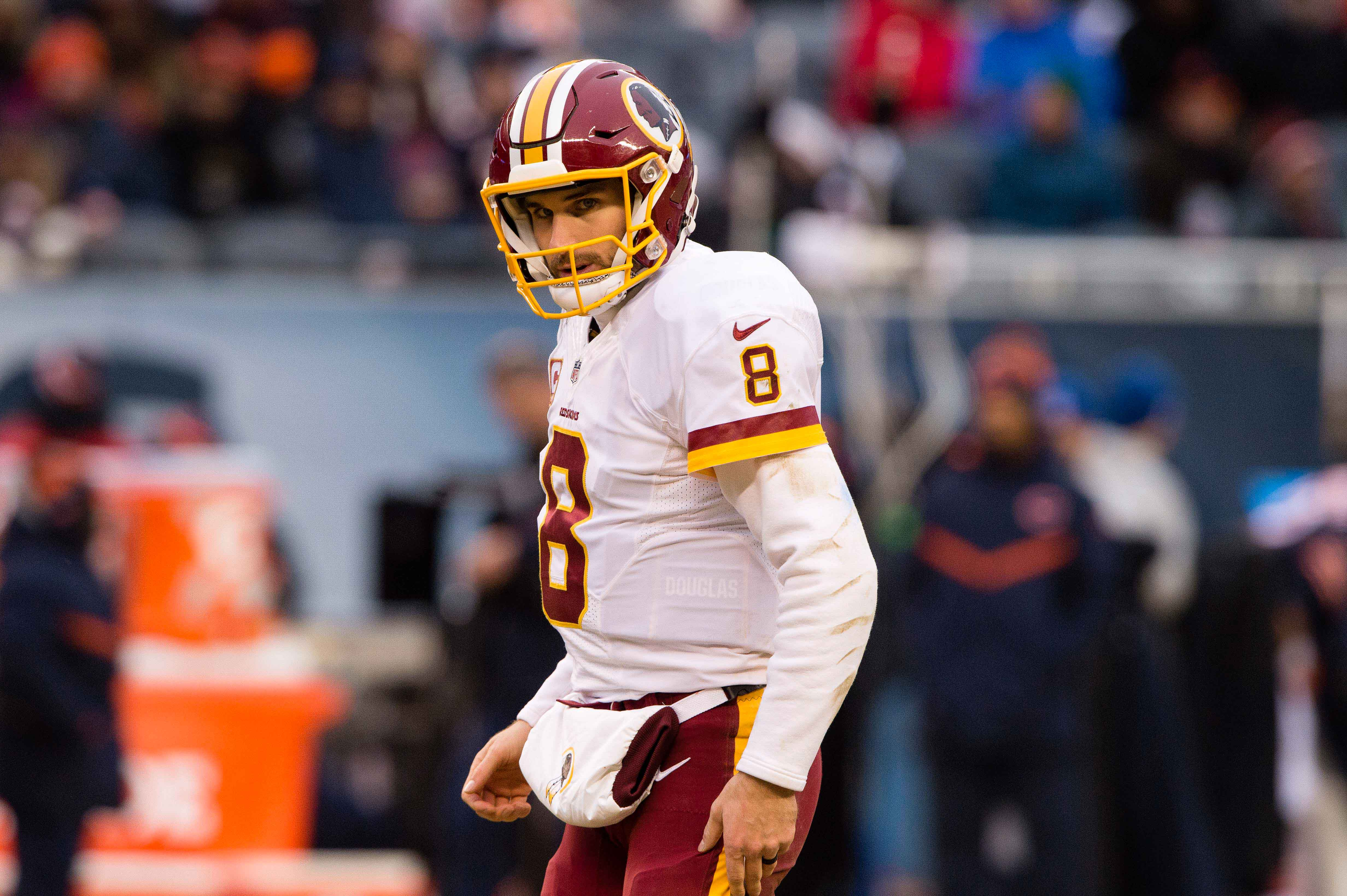 Dec 24, 2016; Chicago, IL, USA; Washington Redskins quarterback Kirk Cousins (8) in action during the game against the Chicago Bears at Soldier Field. The Redskins defeat the Bears 41-21. Mandatory Credit: Jerome Miron-USA TODAY Sports