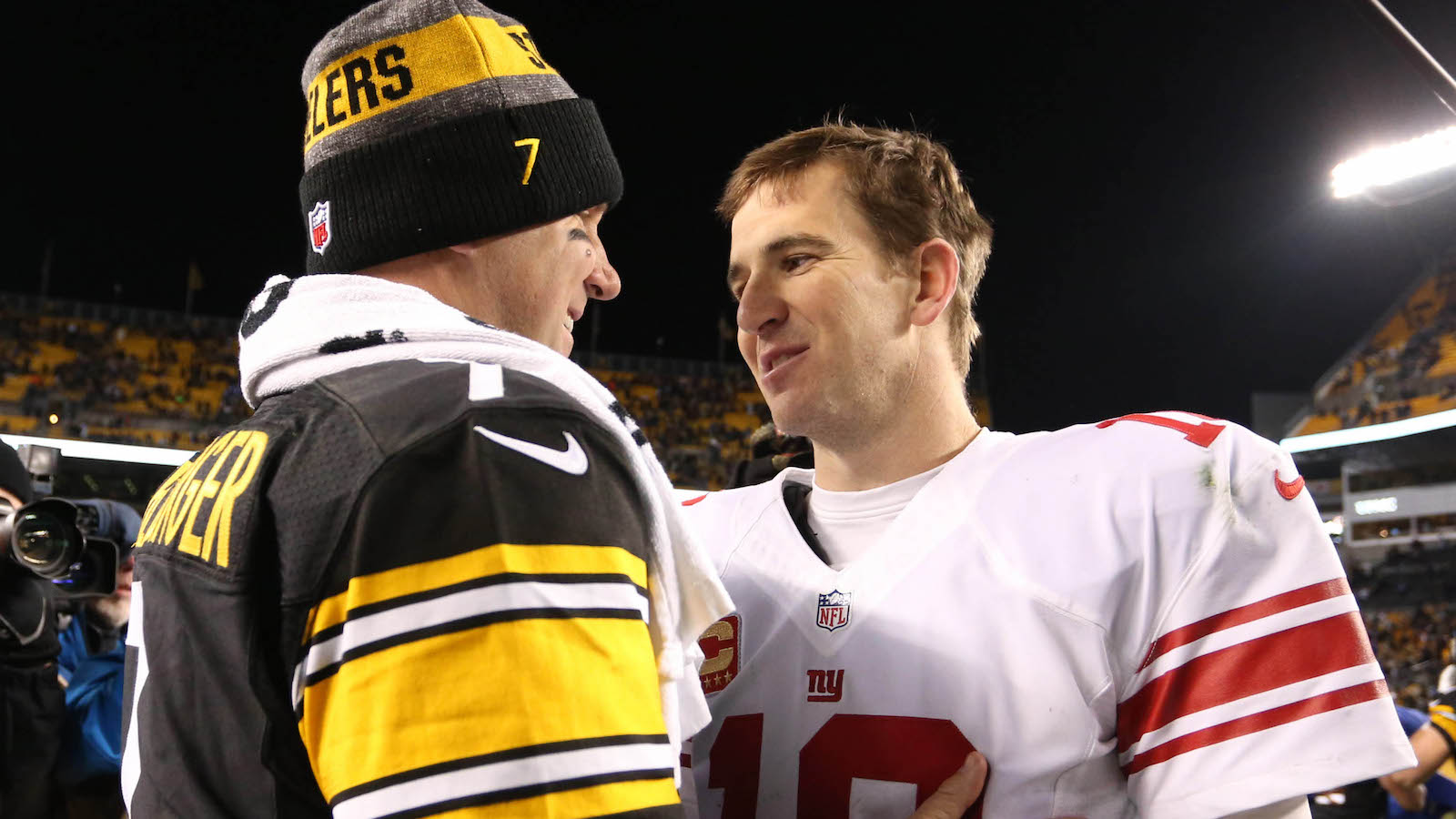 Dec 4, 2016; Pittsburgh, PA, USA;  Pittsburgh Steelers quarterback Ben Roethlisberger (7) and New York Giants quarterback Eli Manning (10) meet after their game at Heinz Field. The Steelers won 24-14. Mandatory Credit: Charles LeClaire-USA TODAY Sports