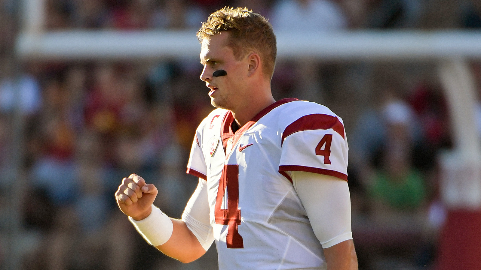 Sep 17, 2016; Stanford, CA, USA; USC Trojans quarterback Max Browne (4) reacts during the first half of a NCAA football game against the Stanford Cardinal at Stanford Stadium. Mandatory Credit: Kirby Lee-USA TODAY Sports