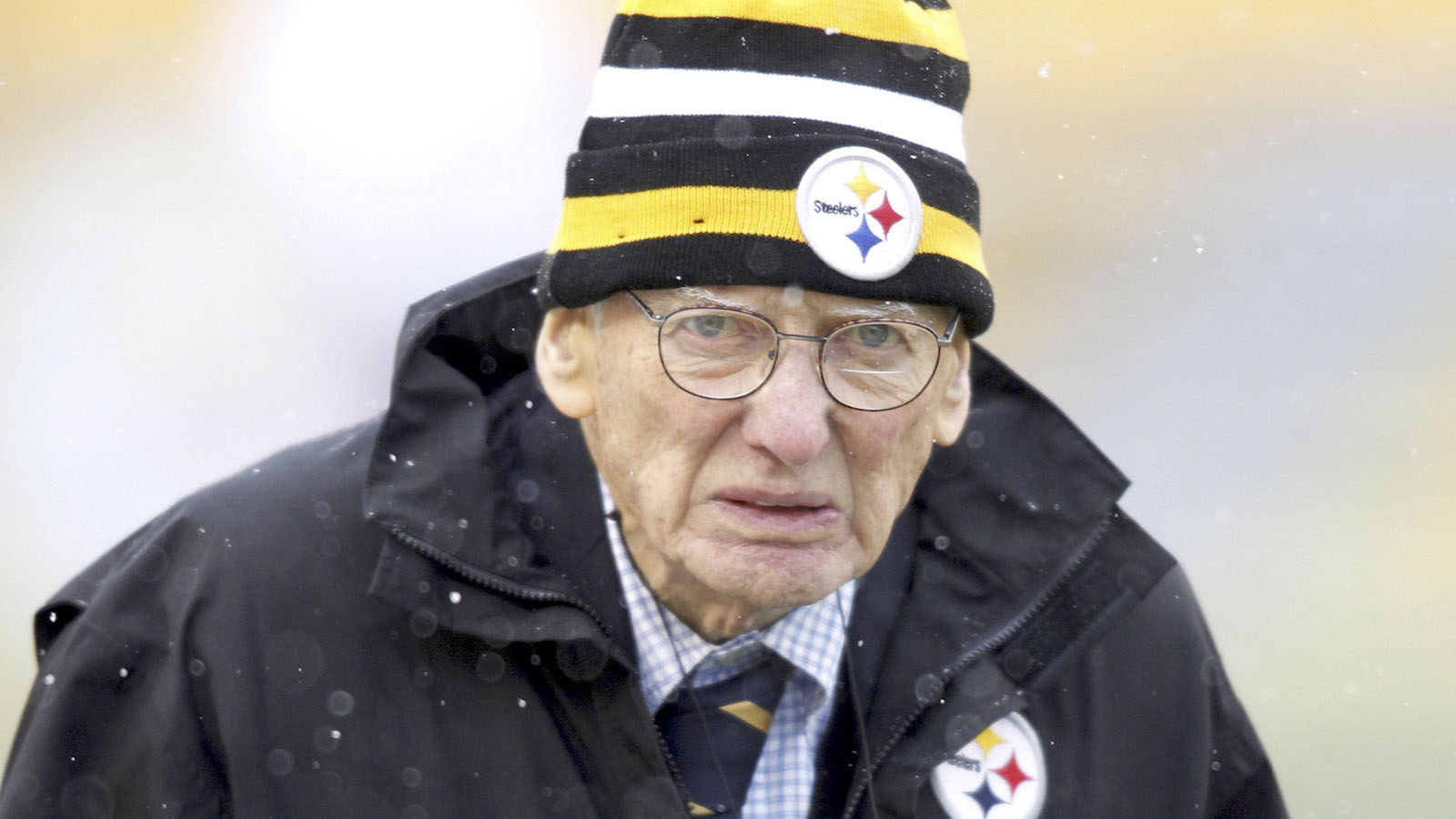 Dec 8, 2013; Pittsburgh, PA, USA; Pittsburgh Steelers chairman emeritus Dan Rooney on the field before the Steelers play the Miami Dolphins at Heinz Field. Mandatory Credit: Charles LeClaire-USA TODAY Sports