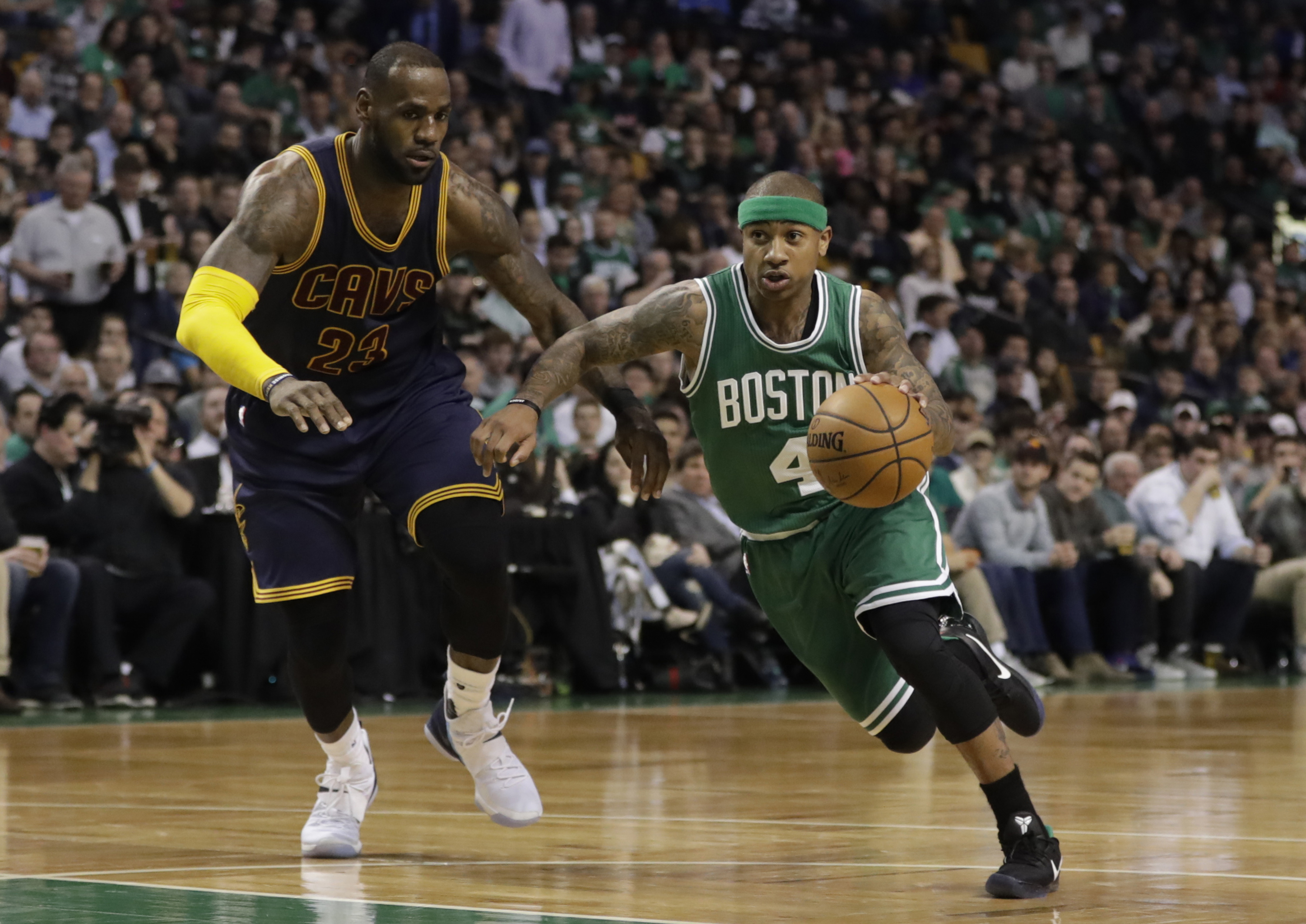Apr 5, 2017; Boston, MA, USA; Boston Celtics guard Isaiah Thomas (4) drives the ball against Cleveland Cavaliers forward LeBron James (23) in the second half at TD Garden. The Cavaliers defeated the Celtics 114-91. Mandatory Credit: David Butler II-USA TODAY Sports