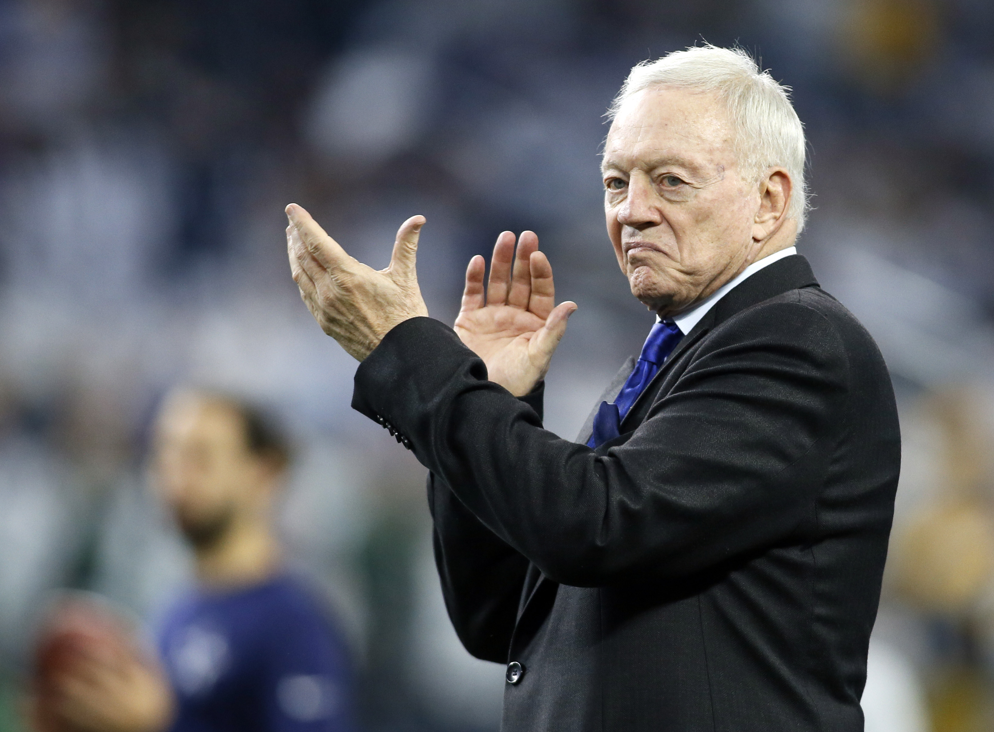 Jan 15, 2017; Arlington, TX, USA; Dallas Cowboys owner Jerry Jones on the field before the game against the Green Bay Packers in the NFC Divisional playoff game at AT&T Stadium. Mandatory Credit: Tim Heitman-USA TODAY Sports