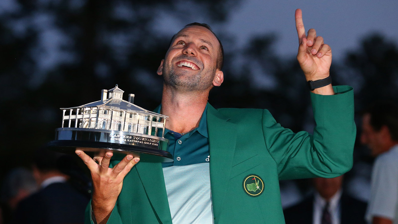 Apr 9, 2017; Augusta, GA, USA; Sergio Garcia celebrates with the trophy at the green jacket ceremony after winning The Masters golf tournament at Augusta National Golf Club. Mandatory Credit: Rob Schumacher-USA TODAY Sports