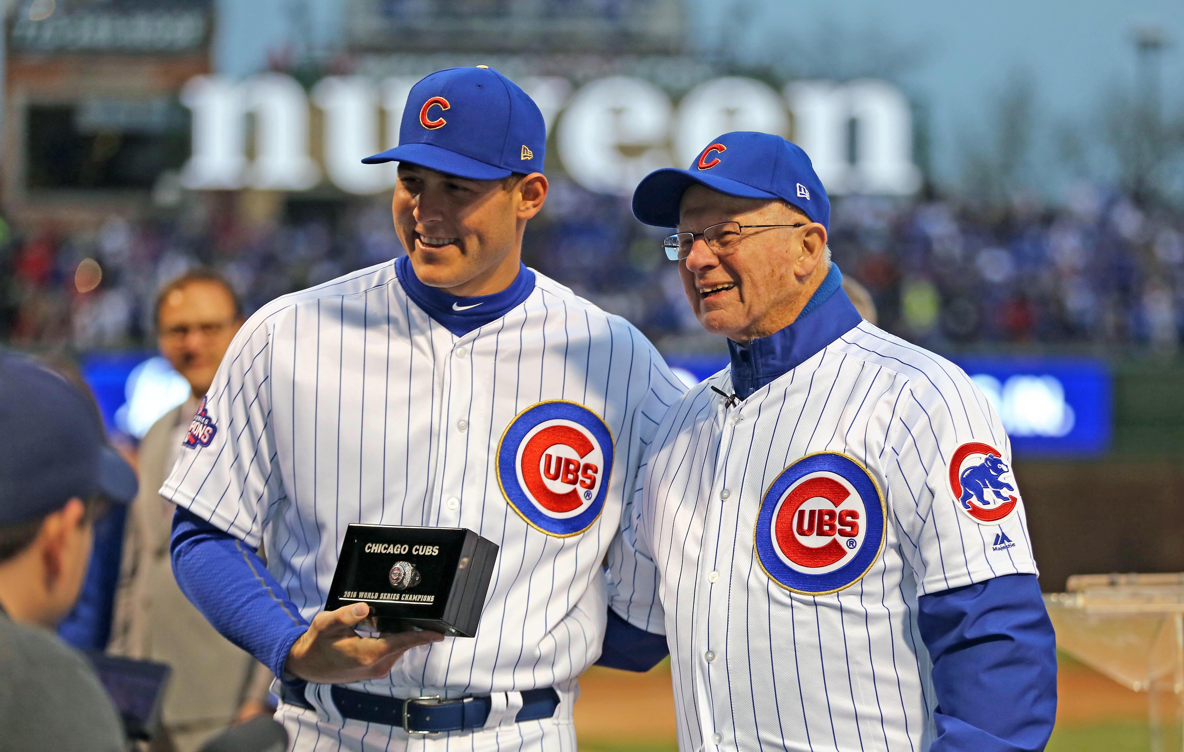 Apr 12, 2017; Chicago, IL, USA; Chicago Cubs first baseman Anthony Rizzo (44) is presented with his 2016 World Series championship ring before the game against the Los Angeles Dodgers at Wrigley Field. Mandatory Credit: Dennis Wierzbicki-USA TODAY Sports