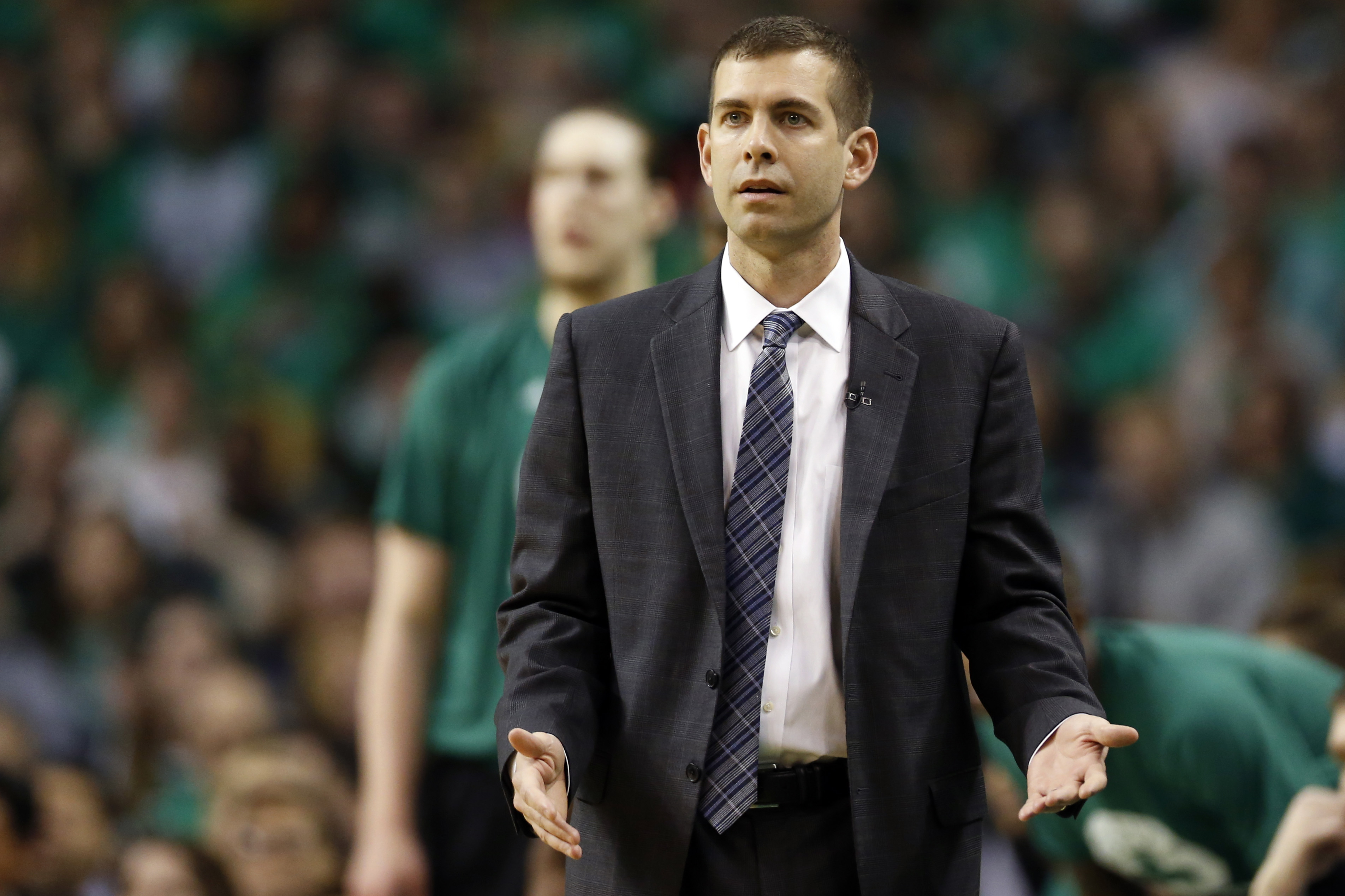 Apr 18, 2017; Boston, MA, USA; Boston Celtics head coach Brad Stevens reacts during the first quarter in game two of the first round of the 2017 NBA Playoffs against the Chicago Bulls at TD Garden. Mandatory Credit: Greg M. Cooper-USA TODAY Sports