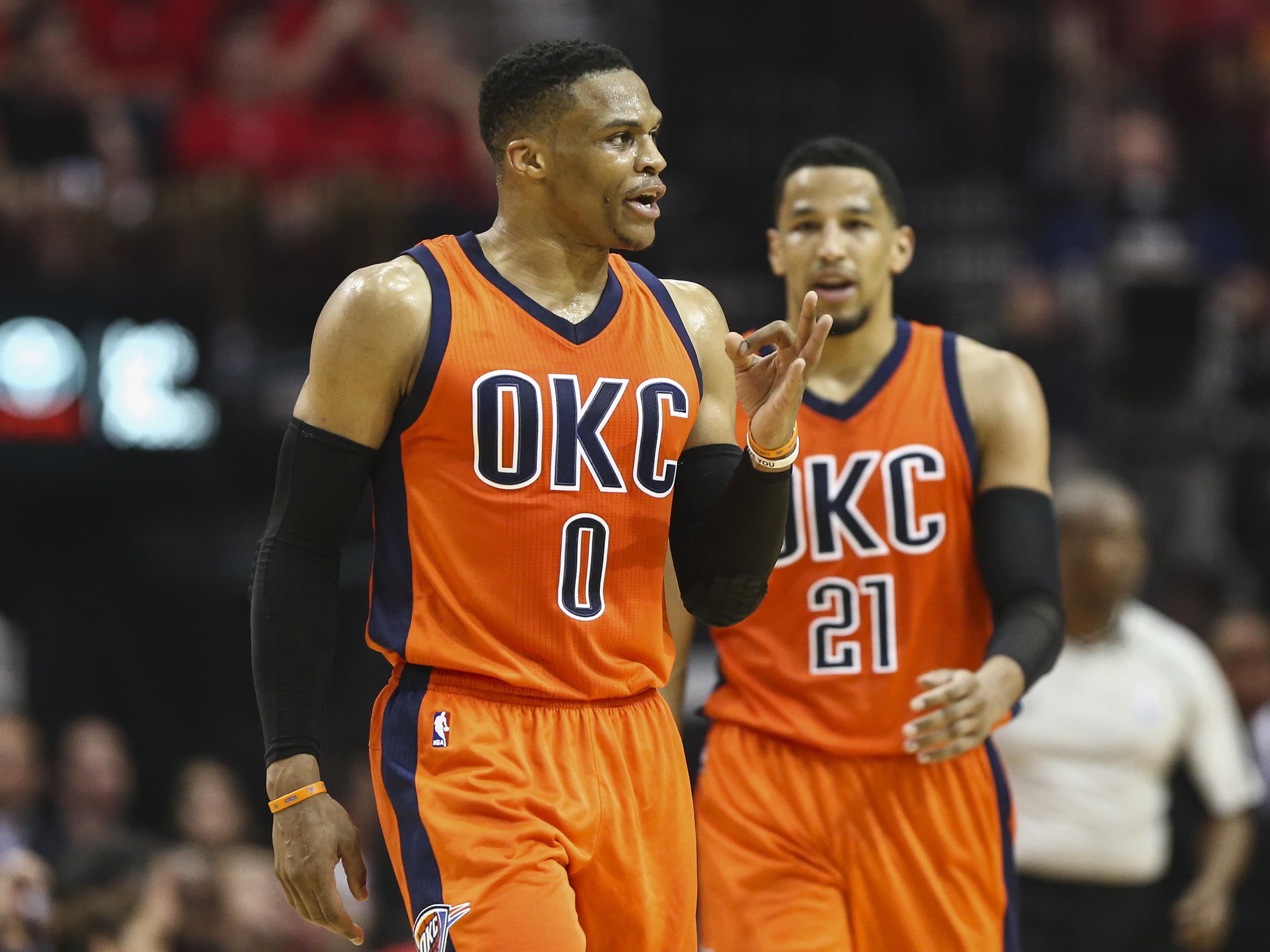 Apr 16, 2017; Houston, TX, USA; Oklahoma City Thunder guard Russell Westbrook (0) reacts after a play during the third quarter against the Houston Rockets in game one of the first round of the 2017 NBA Playoffs at Toyota Center. Mandatory Credit: Troy Taormina-USA TODAY Sports