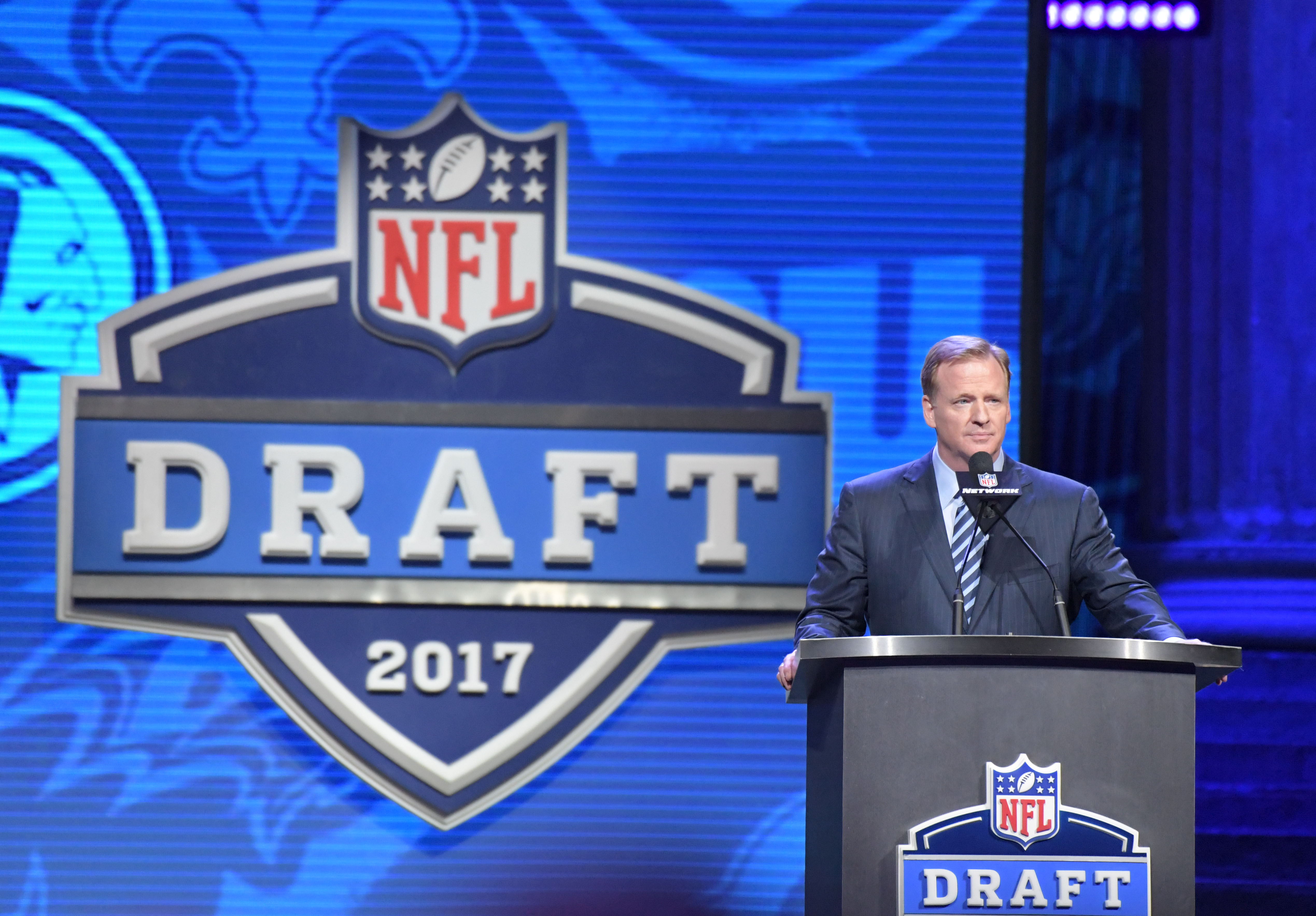 Apr 27, 2017; Philadelphia, PA, USA; NFL commissioner Roger Goodell announces the start of the 2017 NFL Draft at the Philadelphia Museum of Art. Mandatory Credit: Kirby Lee-USA TODAY Sports