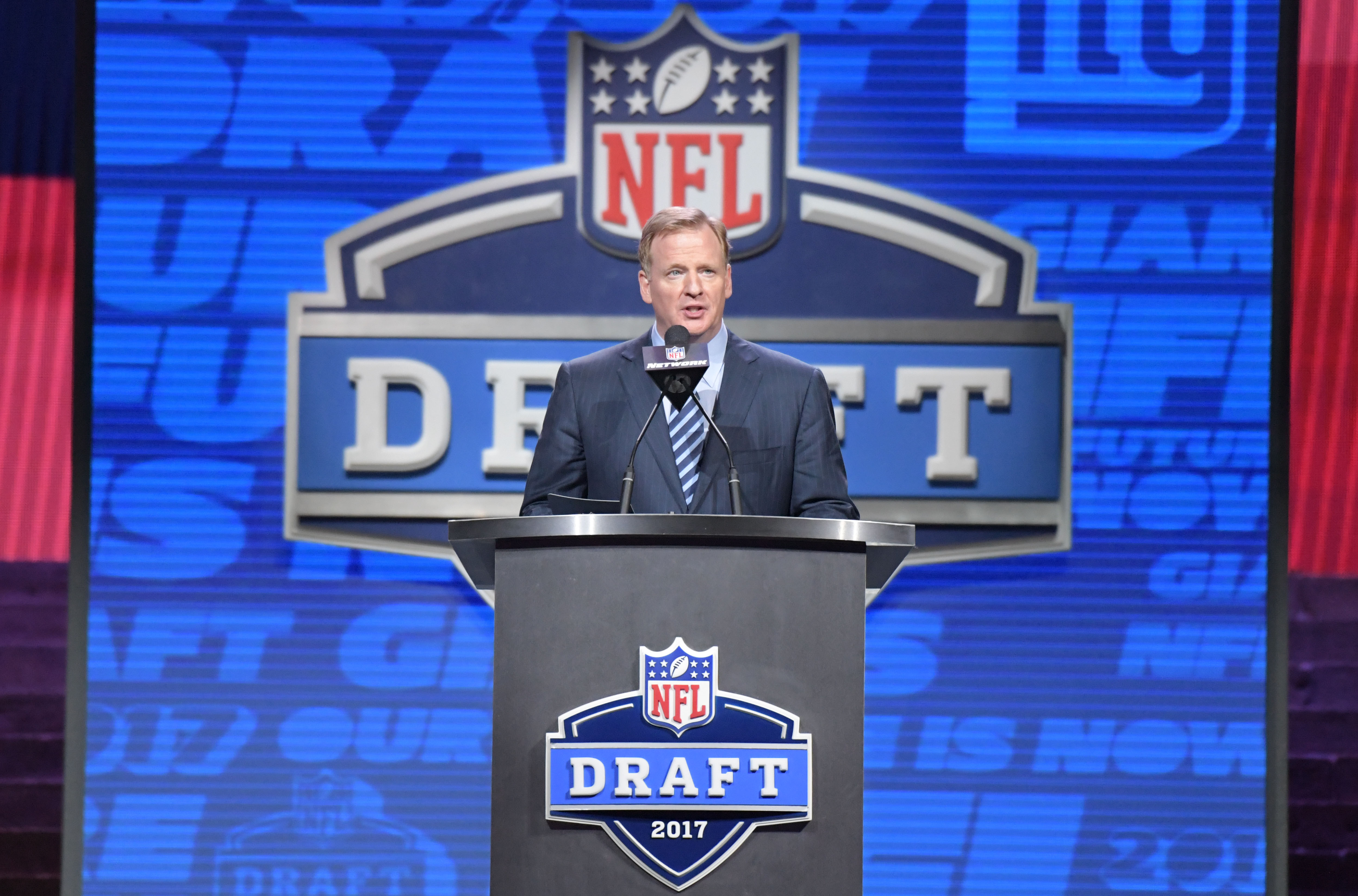 Apr 27, 2017; Philadelphia, PA, USA; NFL commissioner Roger Goodell during the first round the 2017 NFL Draft at the Philadelphia Museum of Art. Mandatory Credit: Kirby Lee-USA TODAY Sports