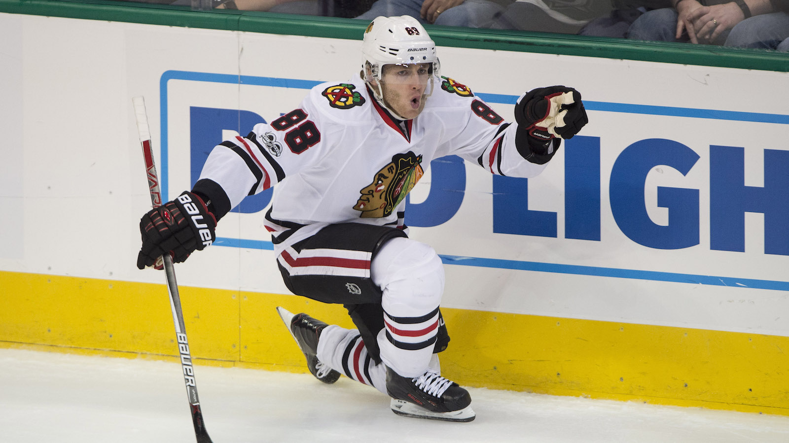 Feb 4, 2017; Dallas, TX, USA; Chicago Blackhawks right wing Patrick Kane (88) celebrates his game tying goal against the Dallas Stars during the third period at the American Airlines Center. The Blackhawks defeat the Stars 5-3. Mandatory Credit: Jerome Miron-USA TODAY Sports