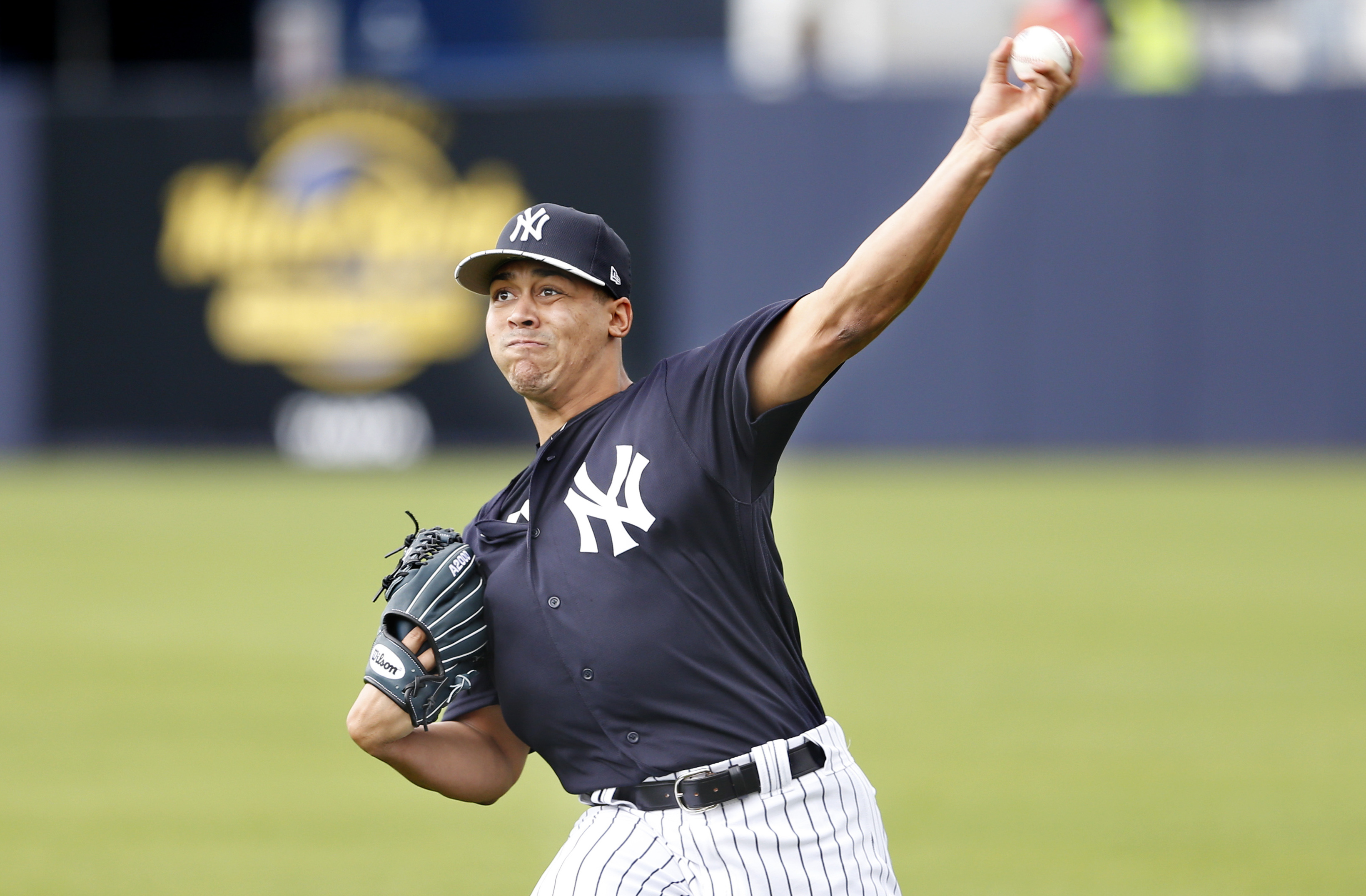 Feb 22, 2017; Tampa, FL, USA; New York Yankees relief pitcher Justus Sheffield (98) throws warmup pitches during a rain shortened  MLB spring training workouts at George M. Steinbrenner Field. Mandatory Credit: Reinhold Matay-USA TODAY Sports