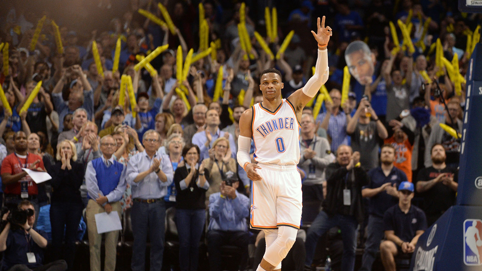 Apr 4, 2017; Oklahoma City, OK, USA; Oklahoma City Thunder guard Russell Westbrook (0) reacts as it announced that he has tied the season triple double record in action against the Milwaukee Bucks at Chesapeake Energy Arena. Mandatory Credit: Mark D. Smith-USA TODAY Sports