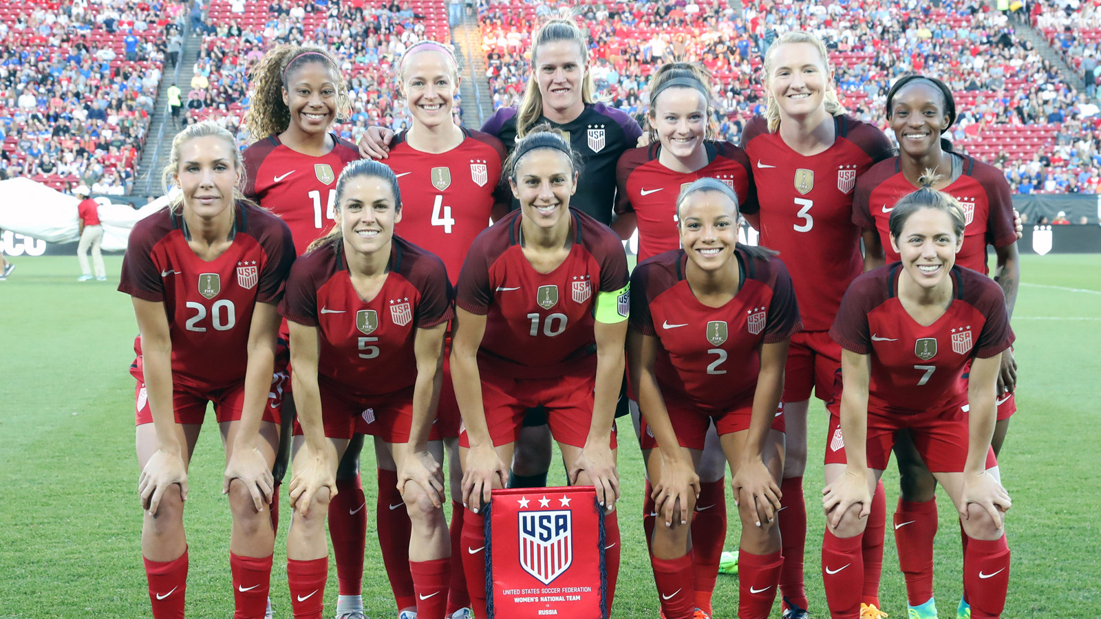 Apr 6, 2017; Frisco, TX, USA; USA women's team pose for a photo prior to the match against Russia at Toyota Stadium. Mandatory Credit: Matthew Emmons-USA TODAY Sports