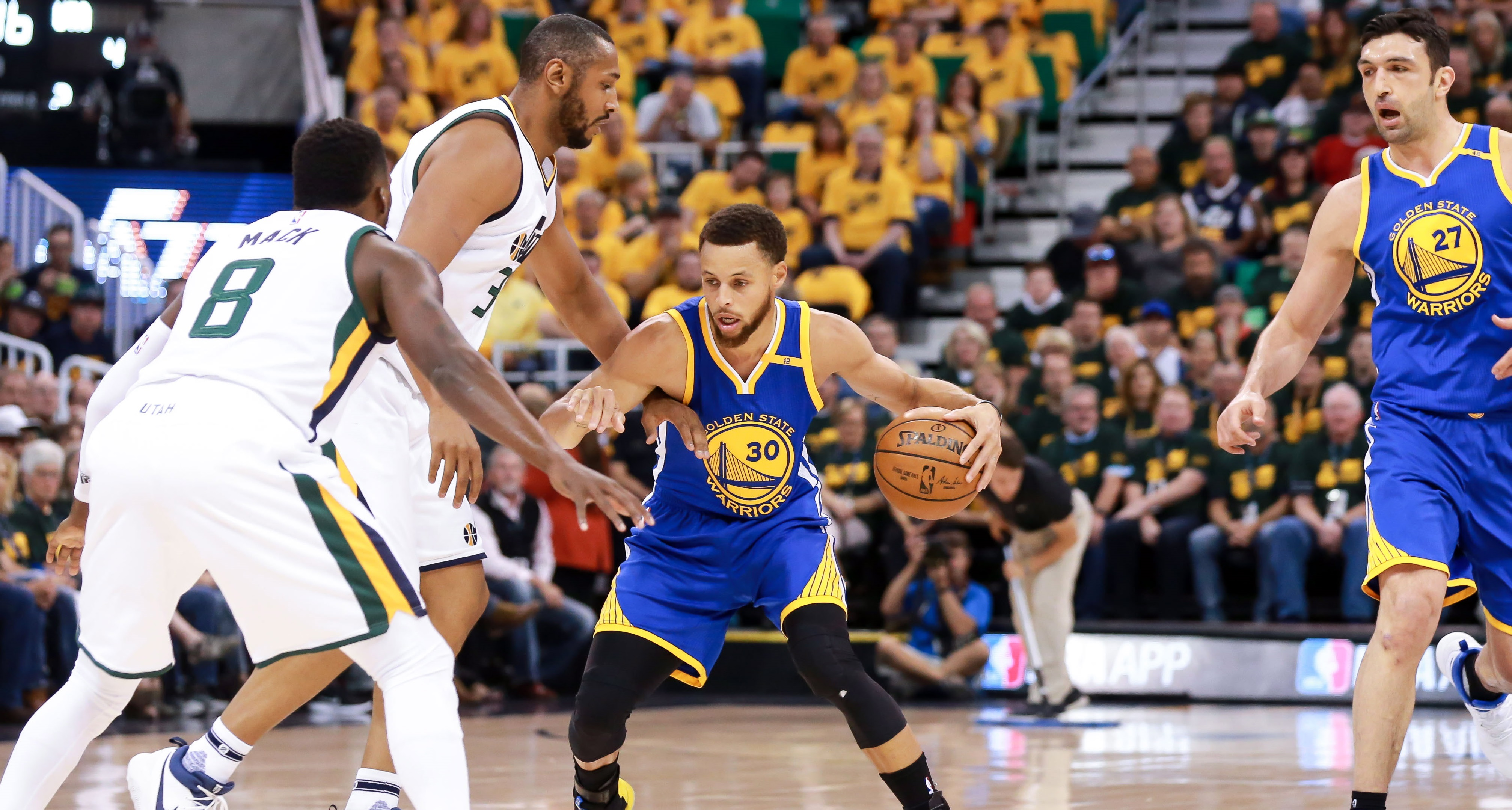 May 6, 2017; Salt Lake City, UT, USA;  Golden State Warriors guard Stephen Curry (30) keeps the ball away from Utah Jazz center Boris Diaw (33) during the first quarter in game three of the second round of the 2017 NBA Playoffs at Vivint Smart Home Arena. Mandatory Credit: Chris Nicoll-USA TODAY Sports