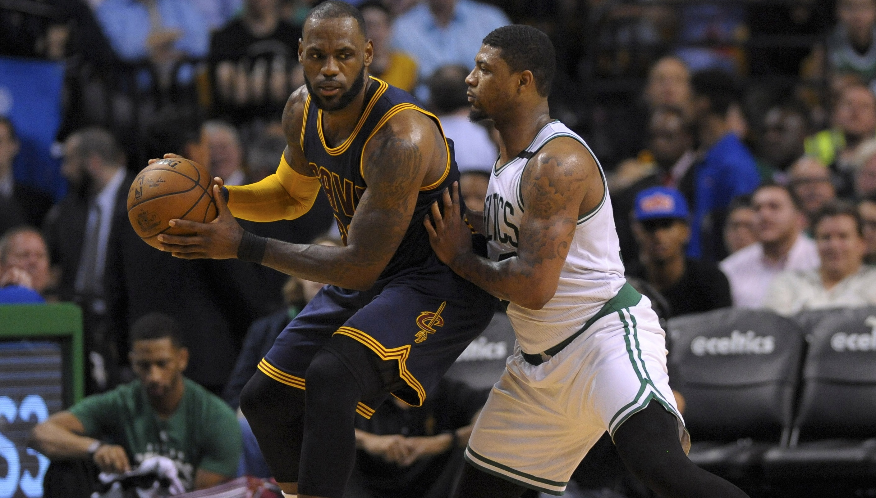 May 17, 2017; Boston, MA, USA; Cleveland Cavaliers forward LeBron James (23) controls the ball while being guarded by Boston Celtics guard Marcus Smart (36) during the first half in game one of the Eastern conference finals of the NBA Playoffs at TD Garden. Mandatory Credit: Bob DeChiara-USA TODAY Sports