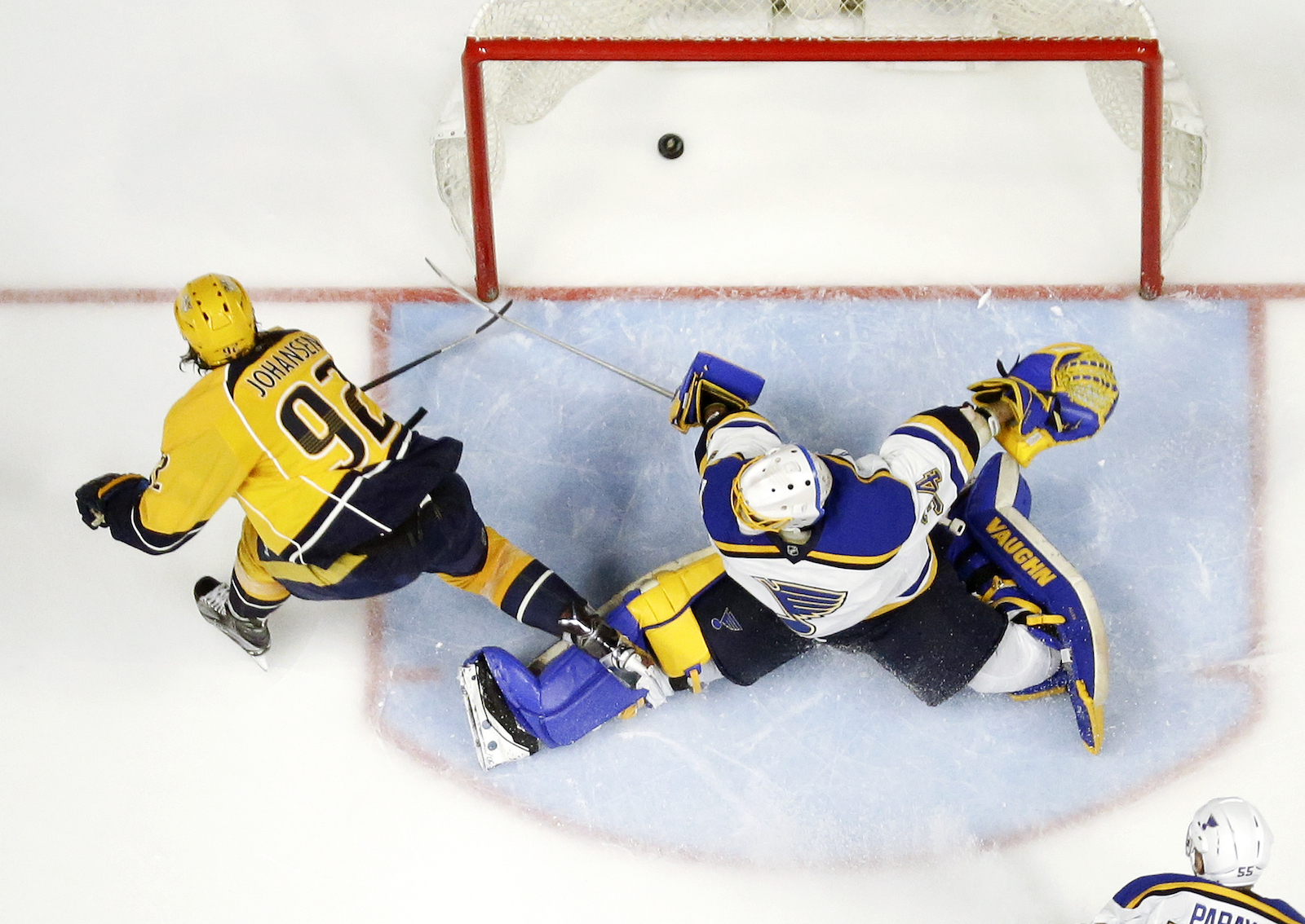Nashville Predators center Ryan Johansen (92) scores the winning goal against St. Louis Blues goalie Jake Allen (34) during the third period in Game 6 of a second-round NHL hockey playoff series, Sunday, May 7, 2017, in Nashville, Tenn. The Predators won 3-1 to win the series 4-2. (AP Photo/Mark Humphrey)