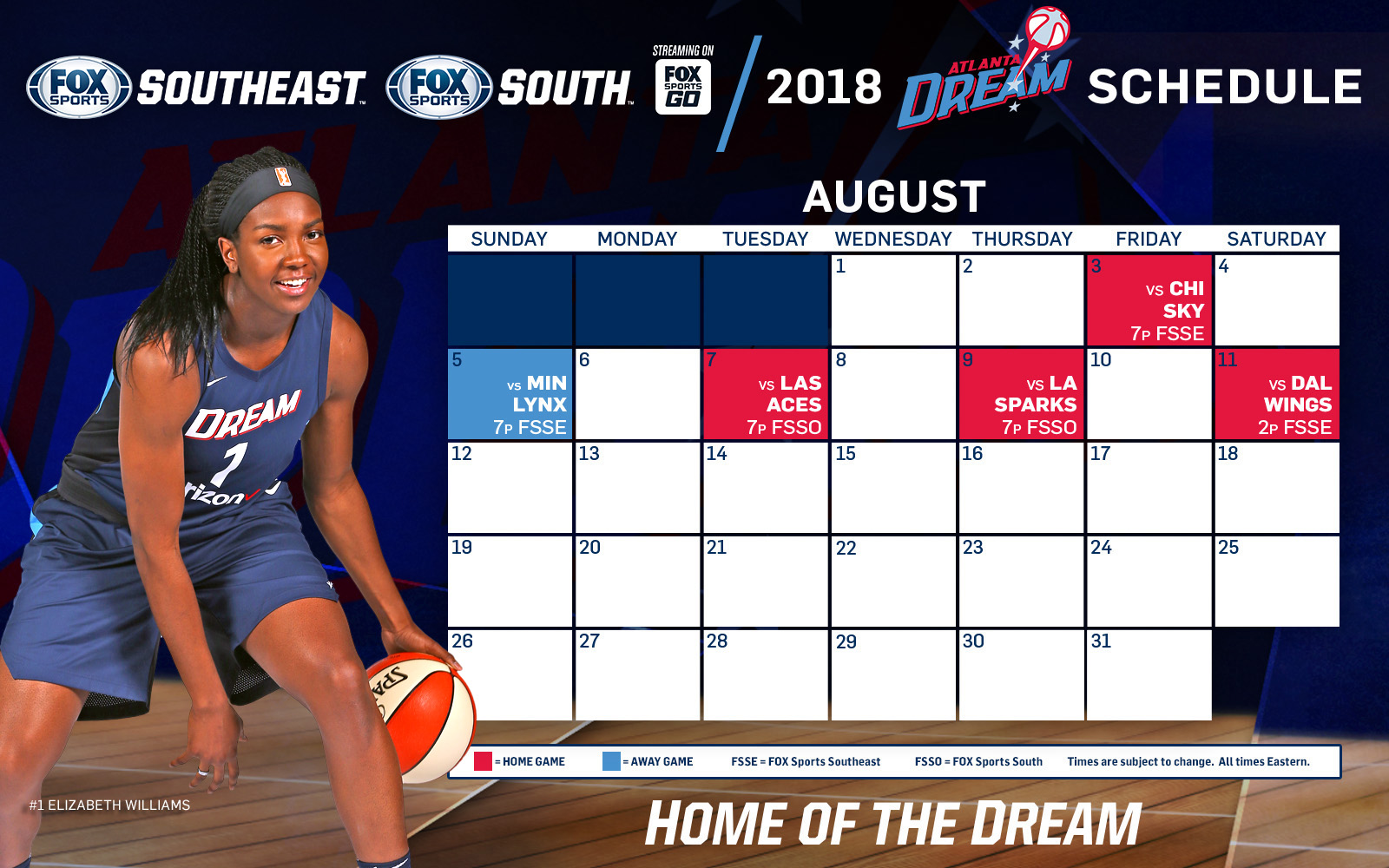 atlanta dream tv schedule: august | fox sports