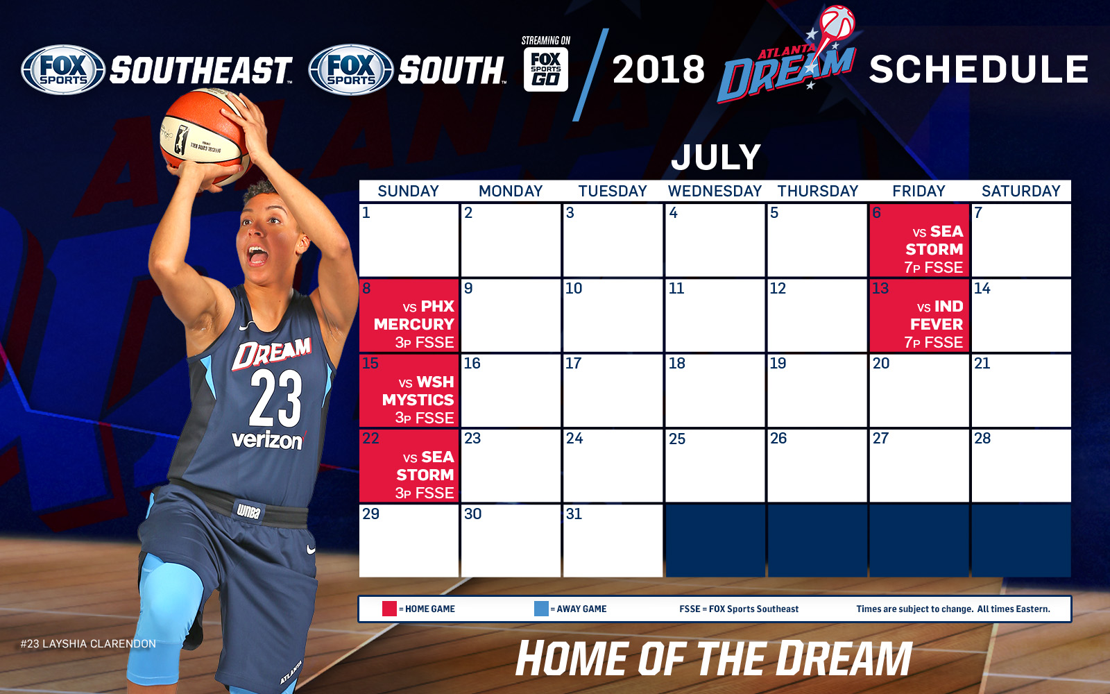 atlanta dream tv schedule: july | fox sports