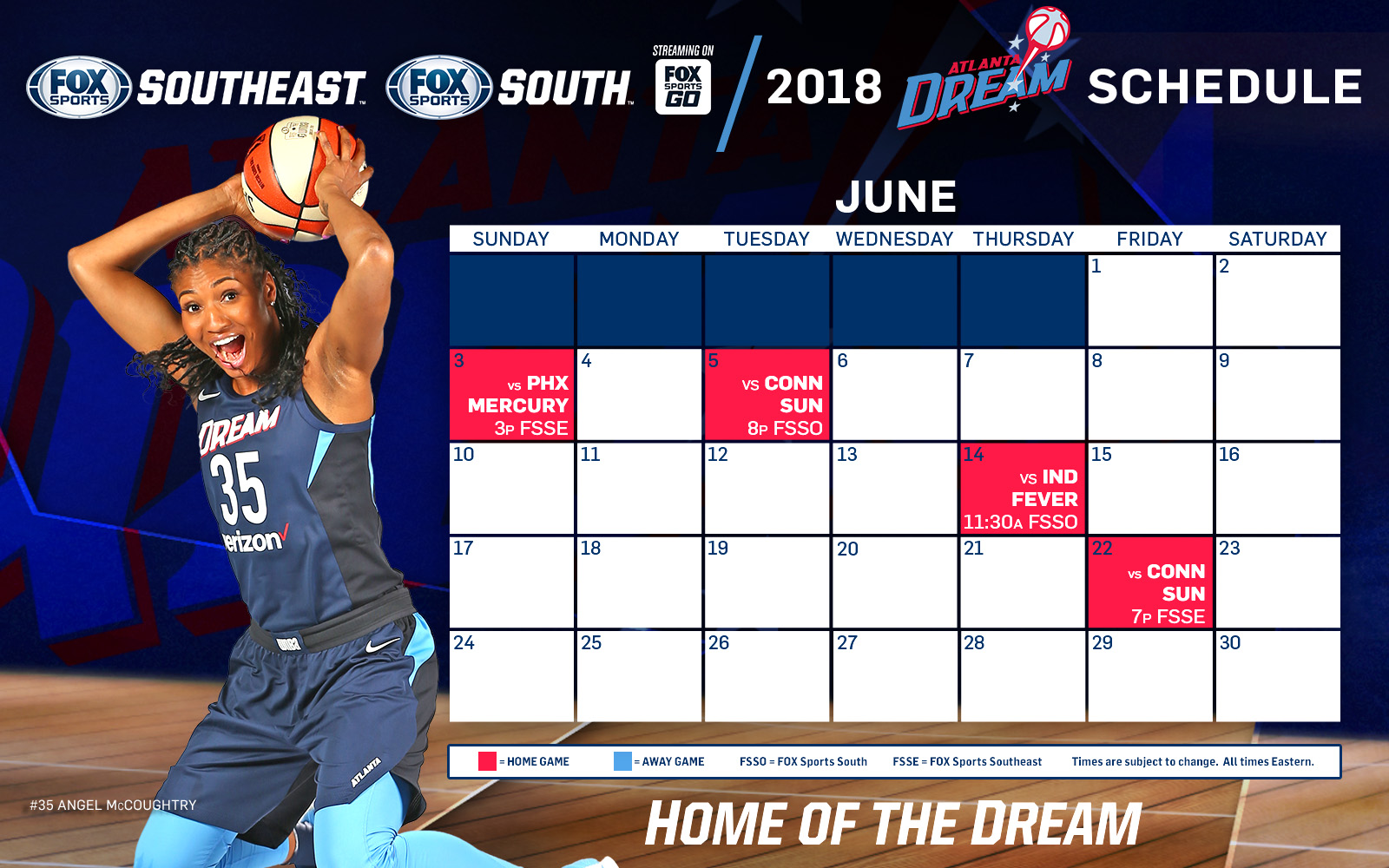 atlanta dream tv schedule: june | fox sports