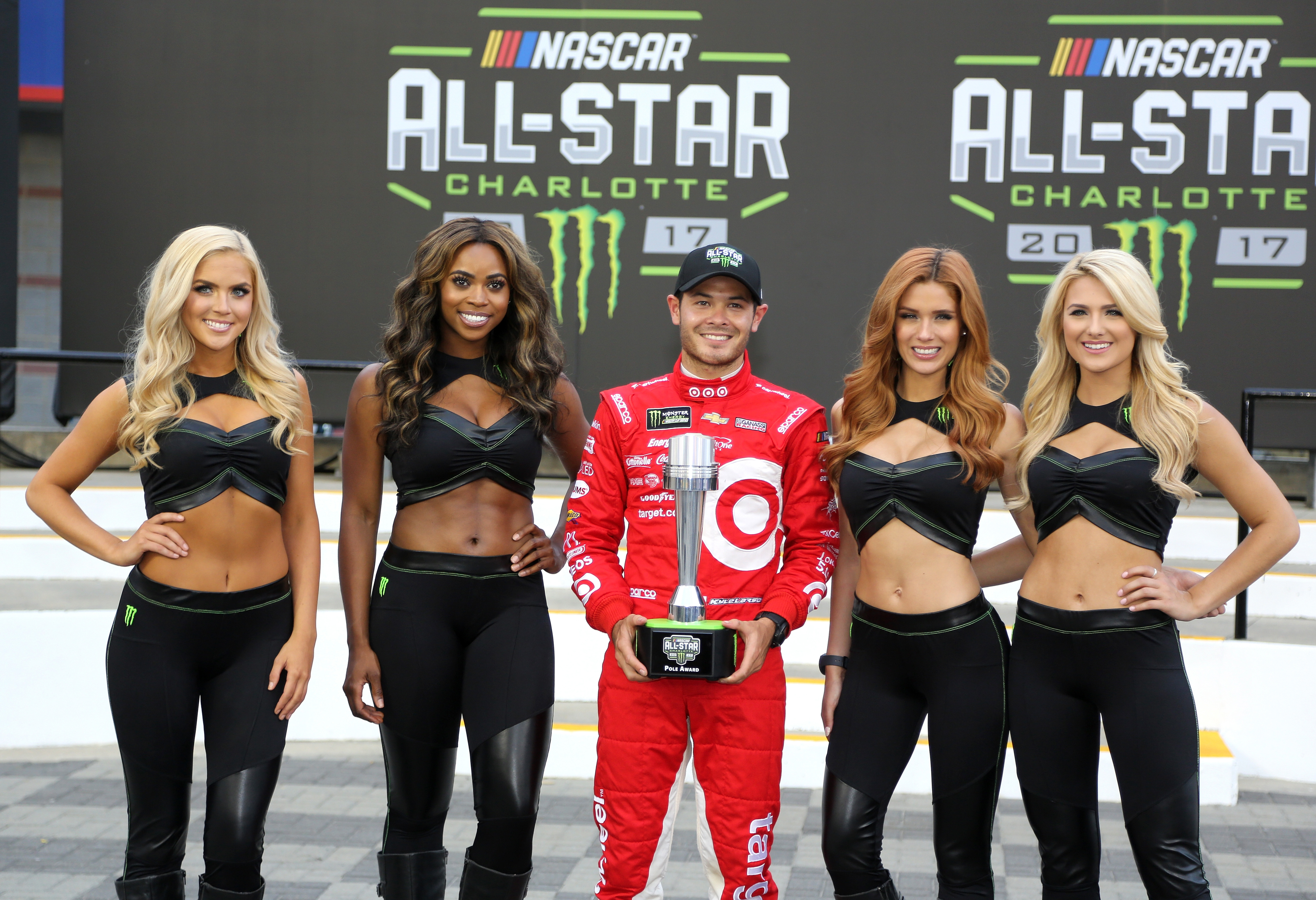 CHARLOTTE, NC - MAY 19: Kyle Larson, driver of the #42 Target Chevrolet, poses with the All-Star pole award qualifying for the Monster Energy NASCAR All-Star Race at Charlotte Motor Speedway on May 19, 2017 in Charlotte, North Carolina. (Photo by Jerry Markland/Getty Images)