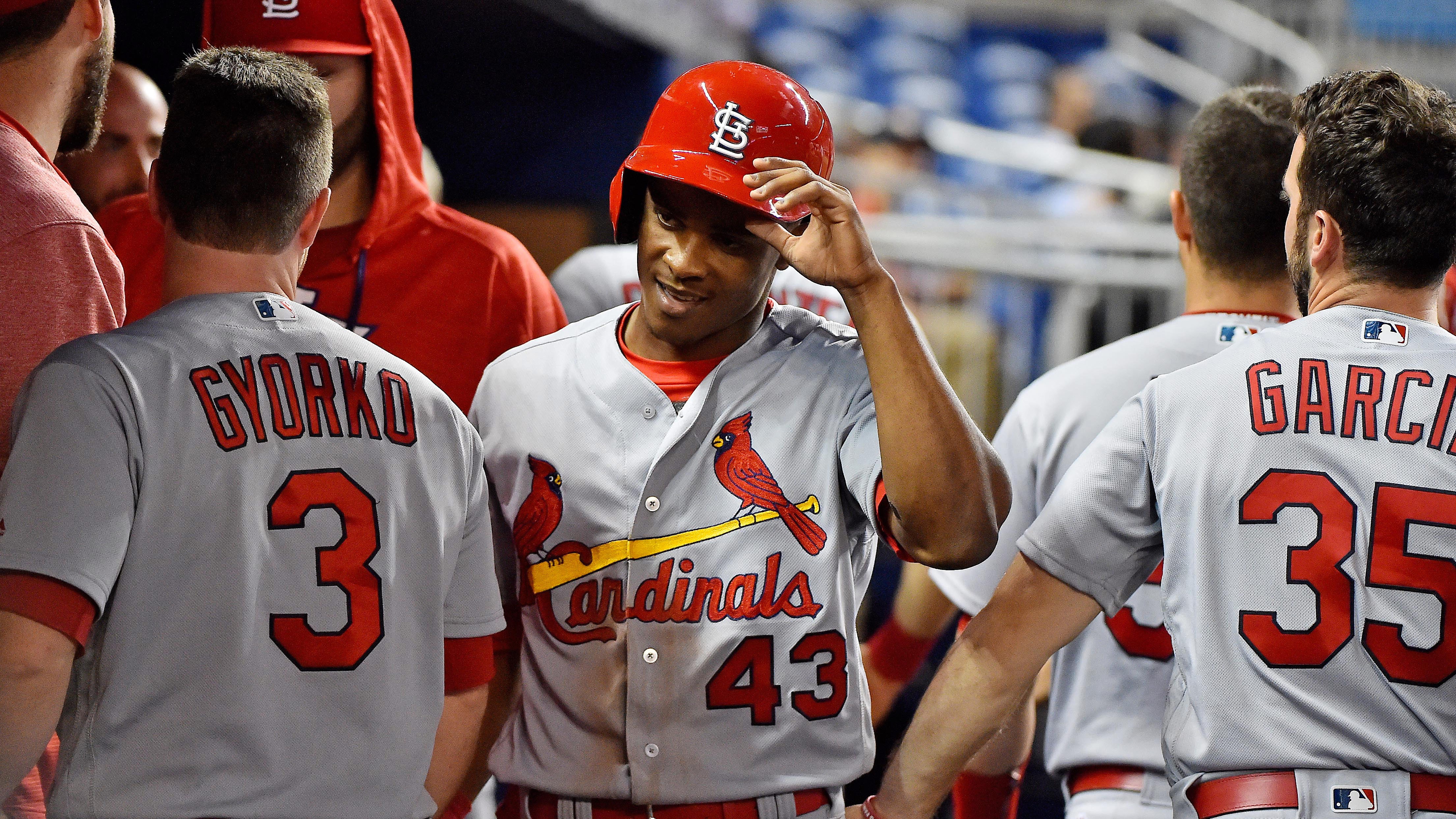 May 8, 2017; Miami, FL, USA; St. Louis Cardinals center fielder Magneuris Sierra (43) celebrates in the dugout after scoring a run against the Miami Marlins at Marlins Park. Mandatory Credit: Jasen Vinlove-USA TODAY Sports