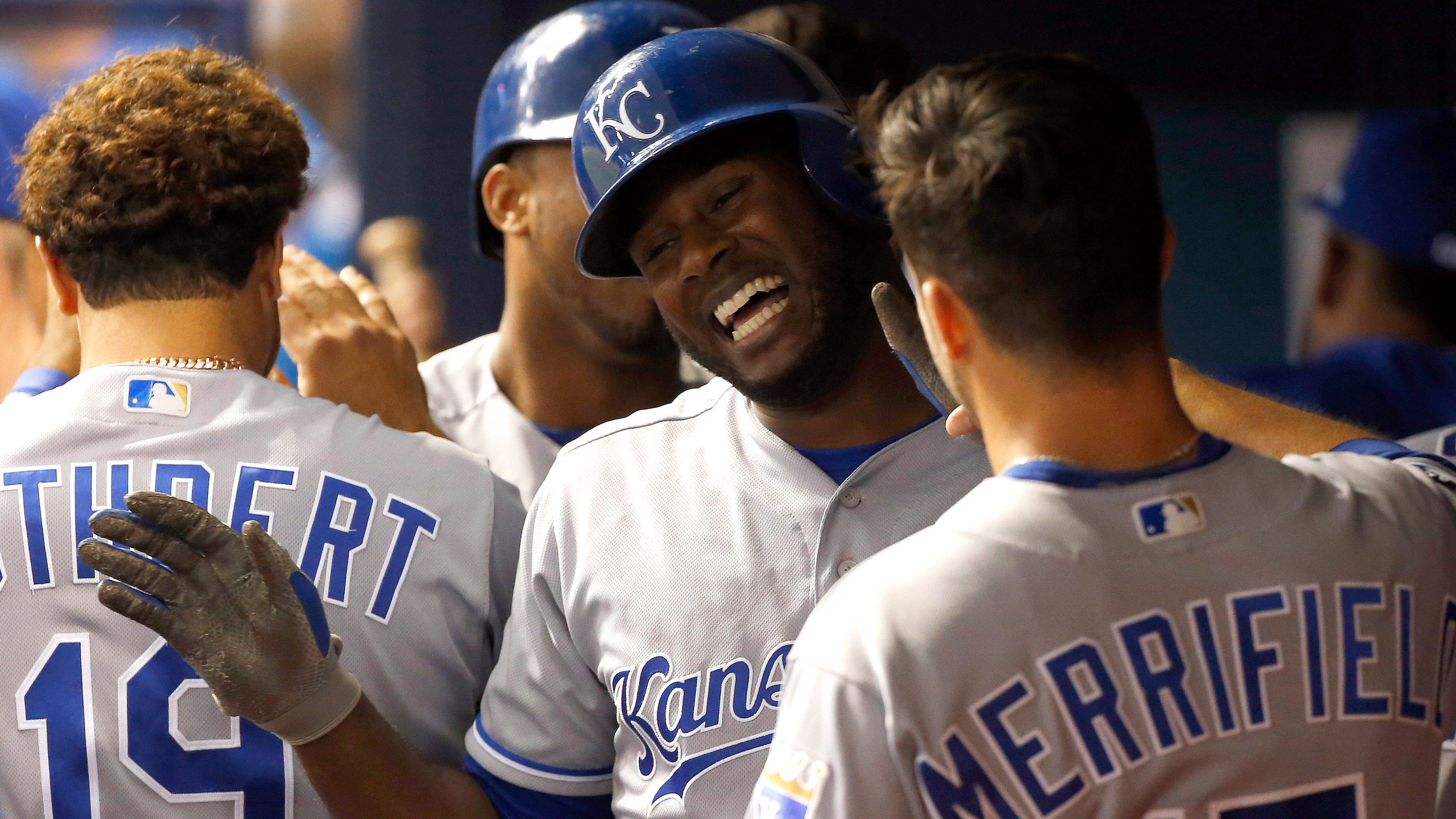 May 8, 2017; St. Petersburg, FL, USA; Kansas City Royals center fielder Lorenzo Cain (6) is congratulated by teammates in the dugout after he hit a in the park 2-RBI home run during the third inning against the Tampa Bay Rays at Tropicana Field. Mandatory Credit: Kim Klement-USA TODAY Sports