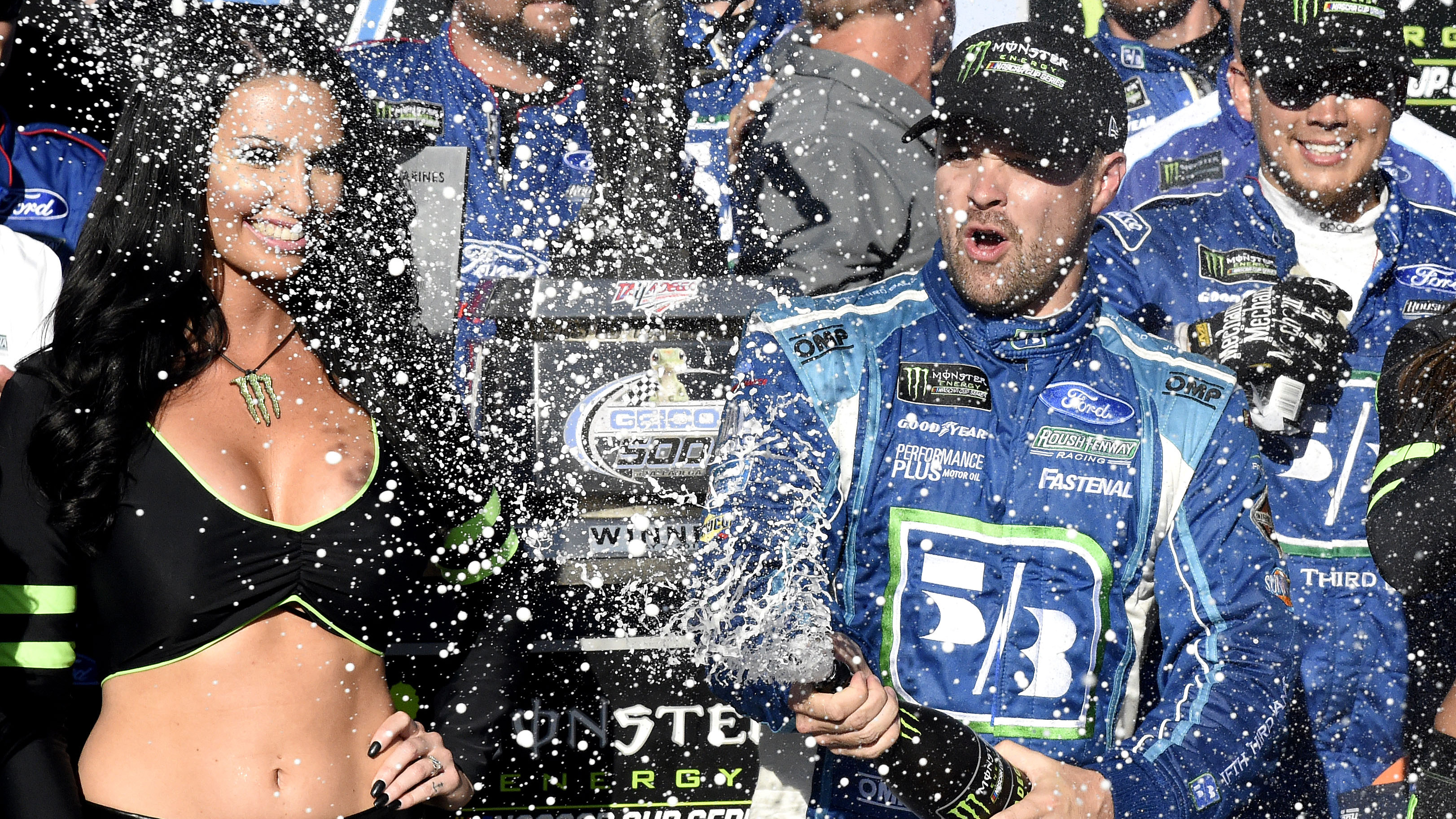 May 7, 2017; Talladega, AL, USA; NASCAR Cup Series driver Ricky Stenhouse Jr. (17) celebrates winning the GEICO 500 at Talladega Superspeedway. Mandatory Credit: Adam Hagy-USA TODAY Sports