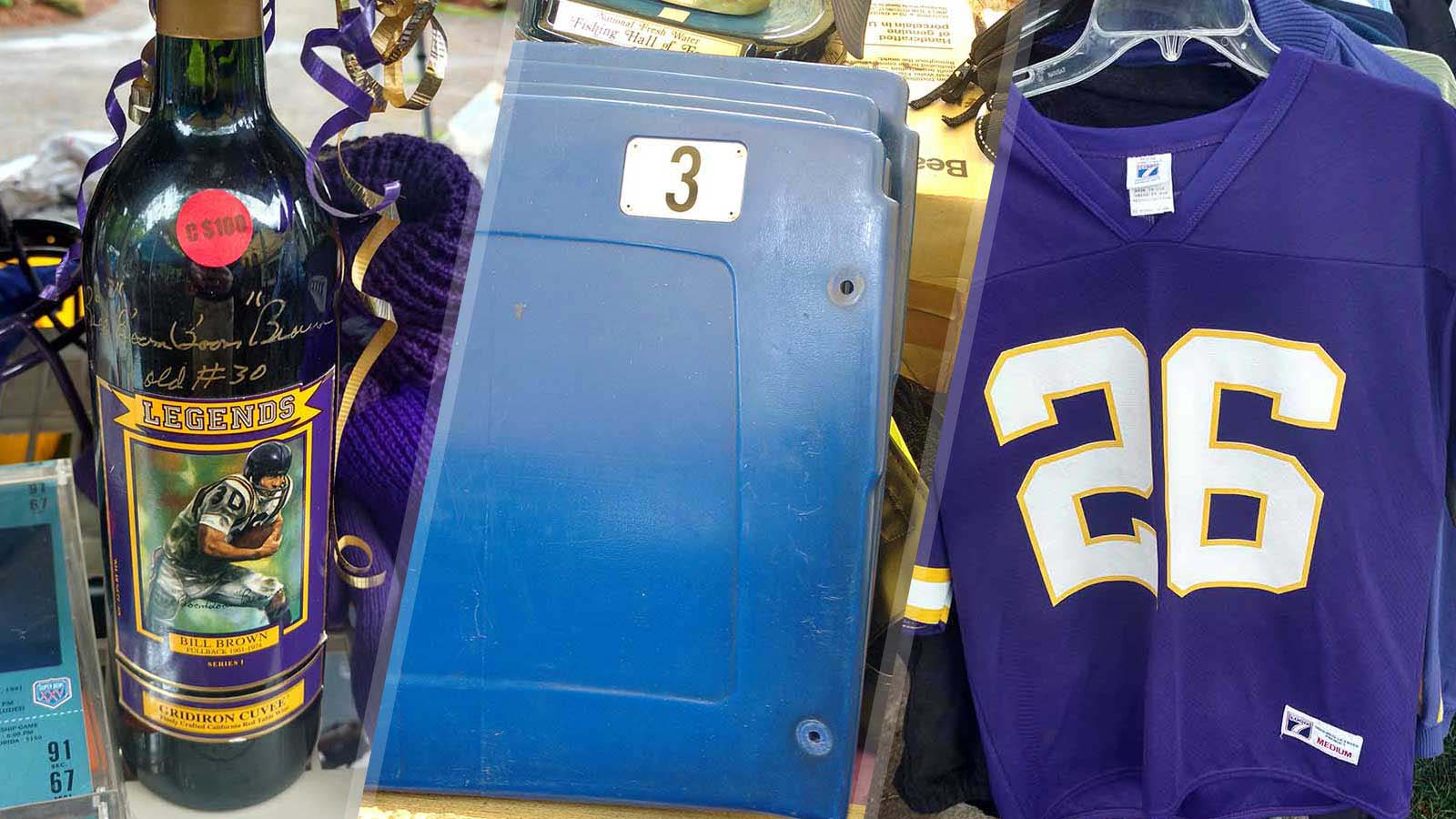 Items for sale at former Minnesota Vikings coach Bud Grant's annual garage sale.
