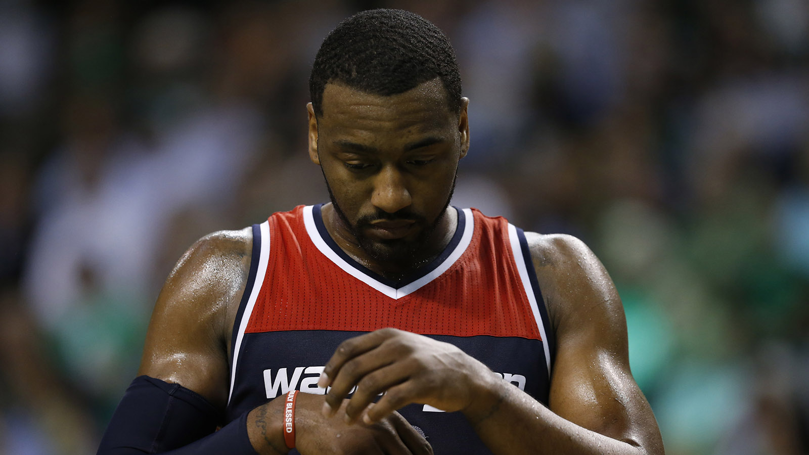 May 2, 2017; Boston, MA, USA; Washington Wizards point guard John Wall (2) reacts during the fourth quarter in game two of the second round of the 2017 NBA Playoffs against the Boston Celtics at TD Garden. Mandatory Credit: Greg M. Cooper-USA TODAY Sports