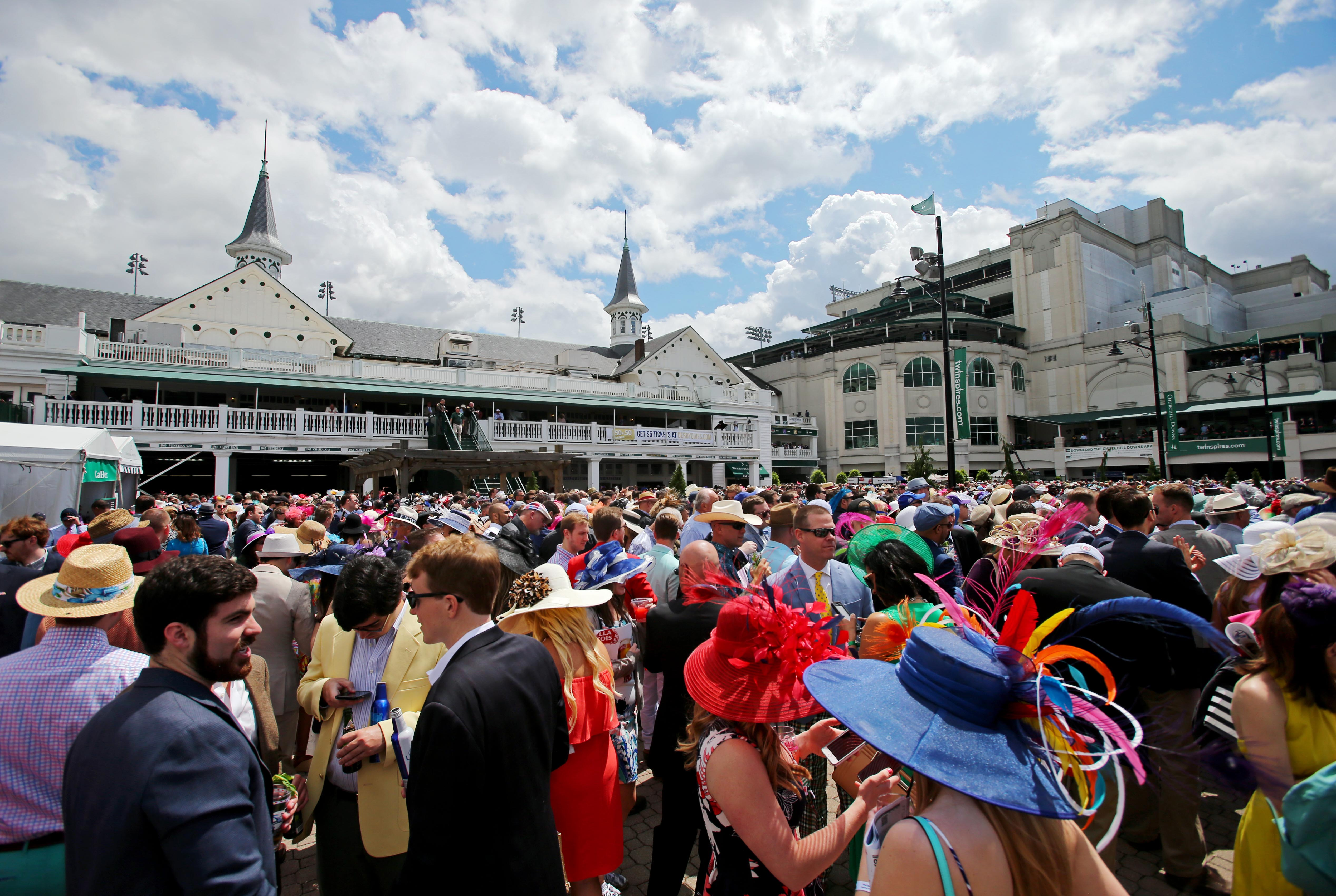 May 6, 2017; Louisville , KY, USA; A general view of fans in the paddock area before the 2017 Kentucky Derby at Churchill Downs. Mandatory Credit: Jerry Lai-USA TODAY Sports