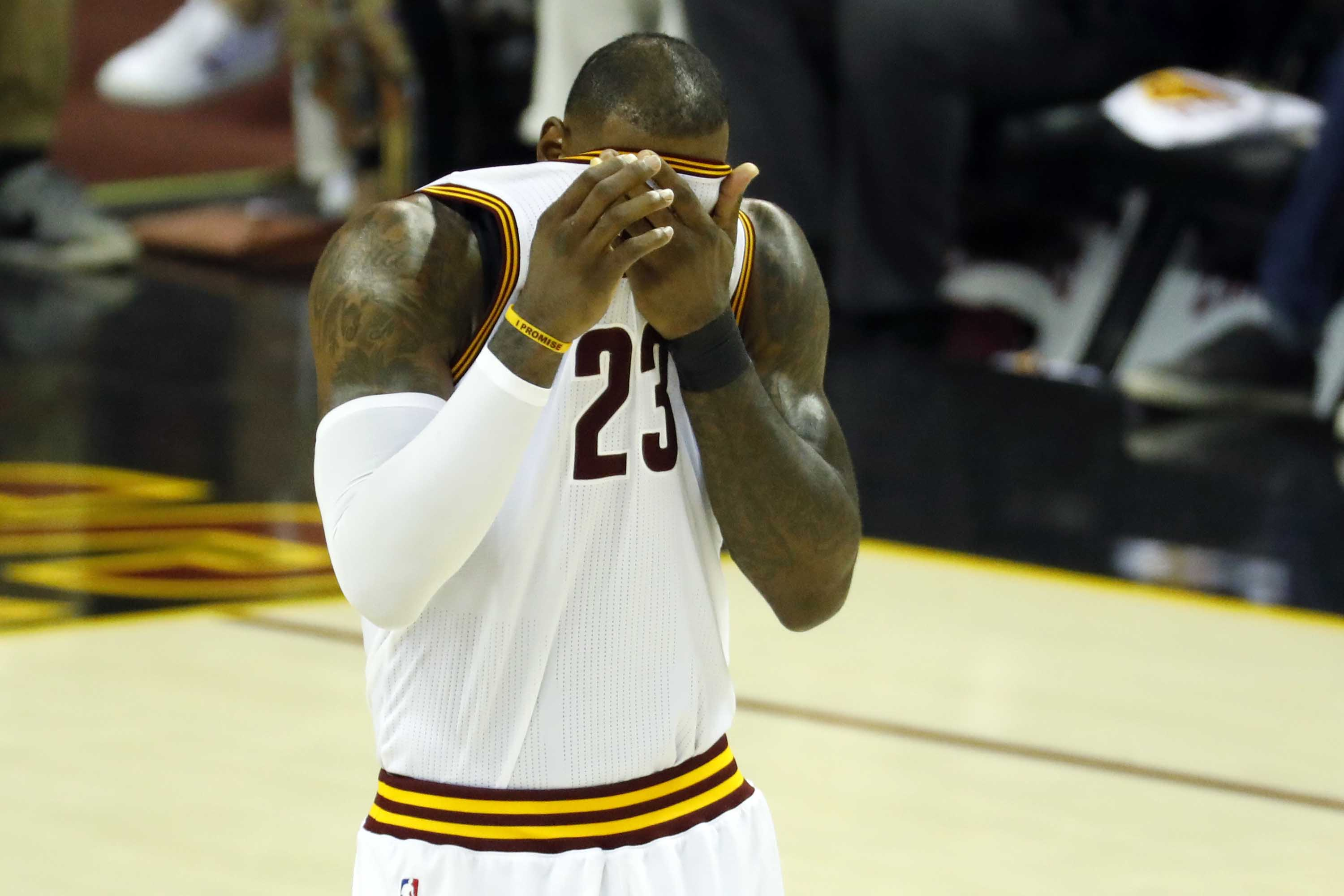 May 21, 2017; Cleveland, OH, USA; Cleveland Cavaliers forward LeBron James (23) reacts during the second half against Boston Celtics in game three of the Eastern conference finals of the NBA Playoffs at Quicken Loans Arena. Mandatory Credit: Rick Osentoski-USA TODAY Sports
