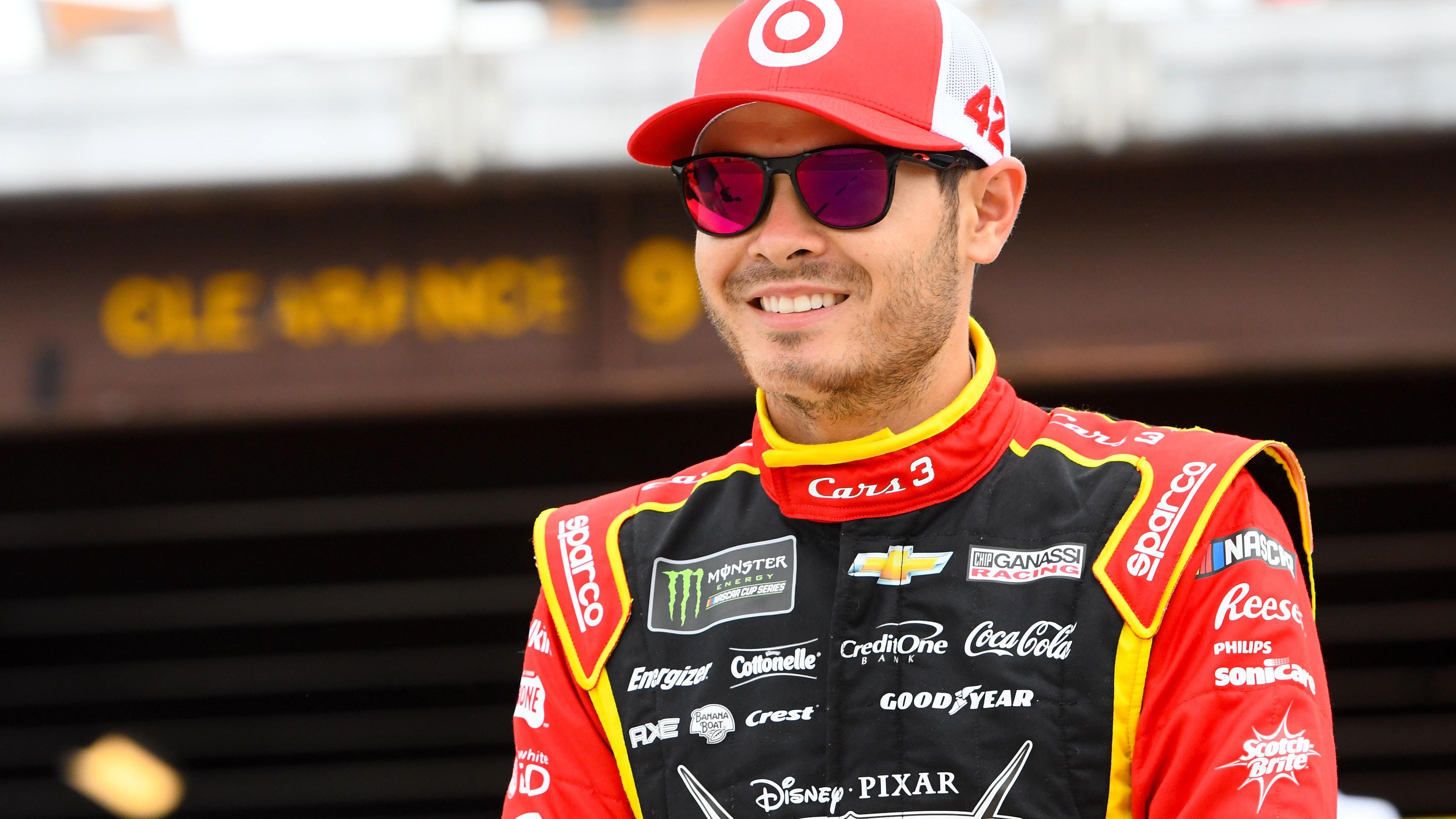 Jun 16, 2017; Brooklyn, MI, USA; NASCAR Cup Series driver Kyle Larson (42) during qualifying for the FireKeepers Casino 400 at Michigan International Speedway. Mandatory Credit: Mike DiNovo-USA TODAY Sports