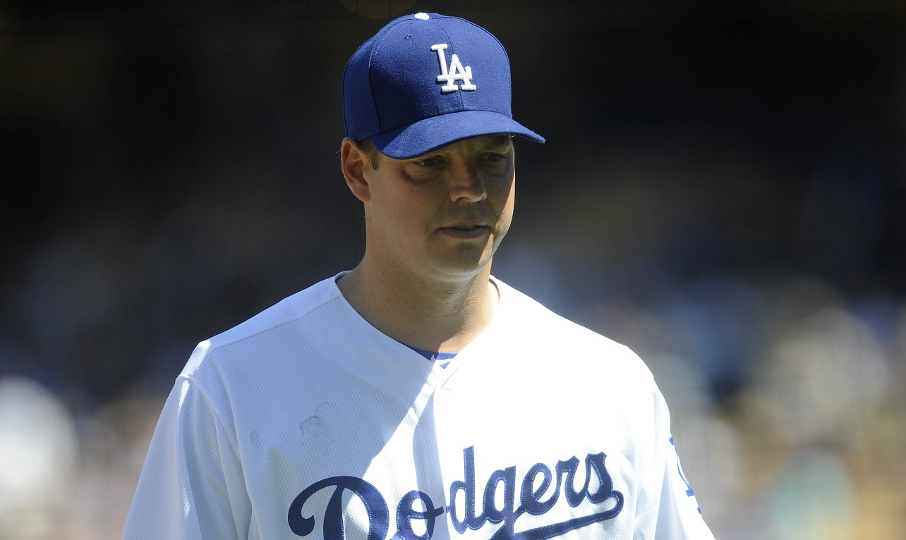 April 16, 2017; Los Angeles, CA, USA;  Los Angeles Dodgers starting pitcher Rich Hill (44) leaves the game before the fourth inning against the Arizona Diamondbacks at Dodger Stadium. Mandatory Credit: Gary A. Vasquez-USA TODAY Sports