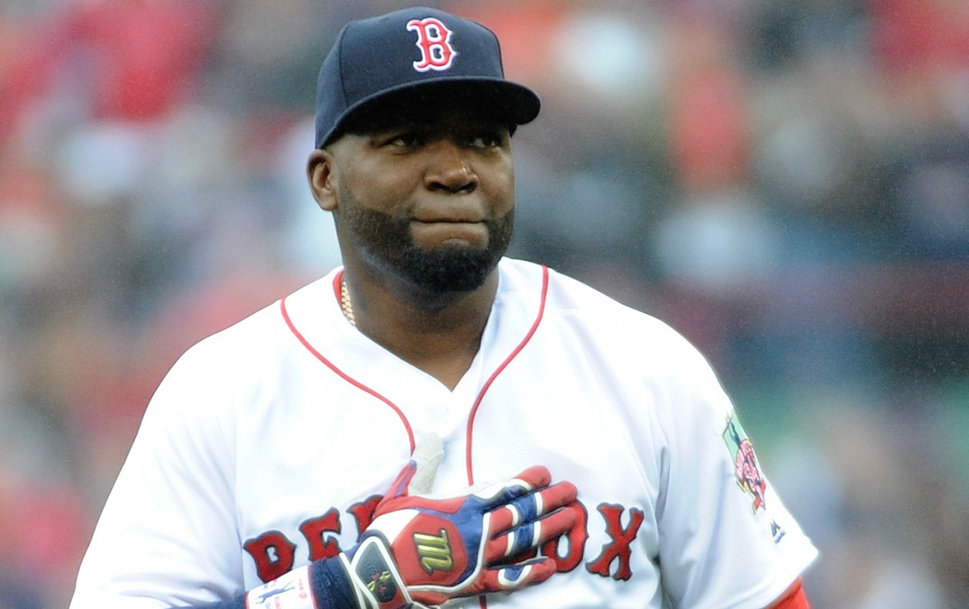 Oct 2, 2016; Boston, MA, USA; Boston Red Sox designated hitter David Ortiz (34) acknowledges the fans prior to pre game ceremonies in his honor before a game against the Toronto Blue Jays at Fenway Park. Mandatory Credit: Bob DeChiara-USA TODAY Sports