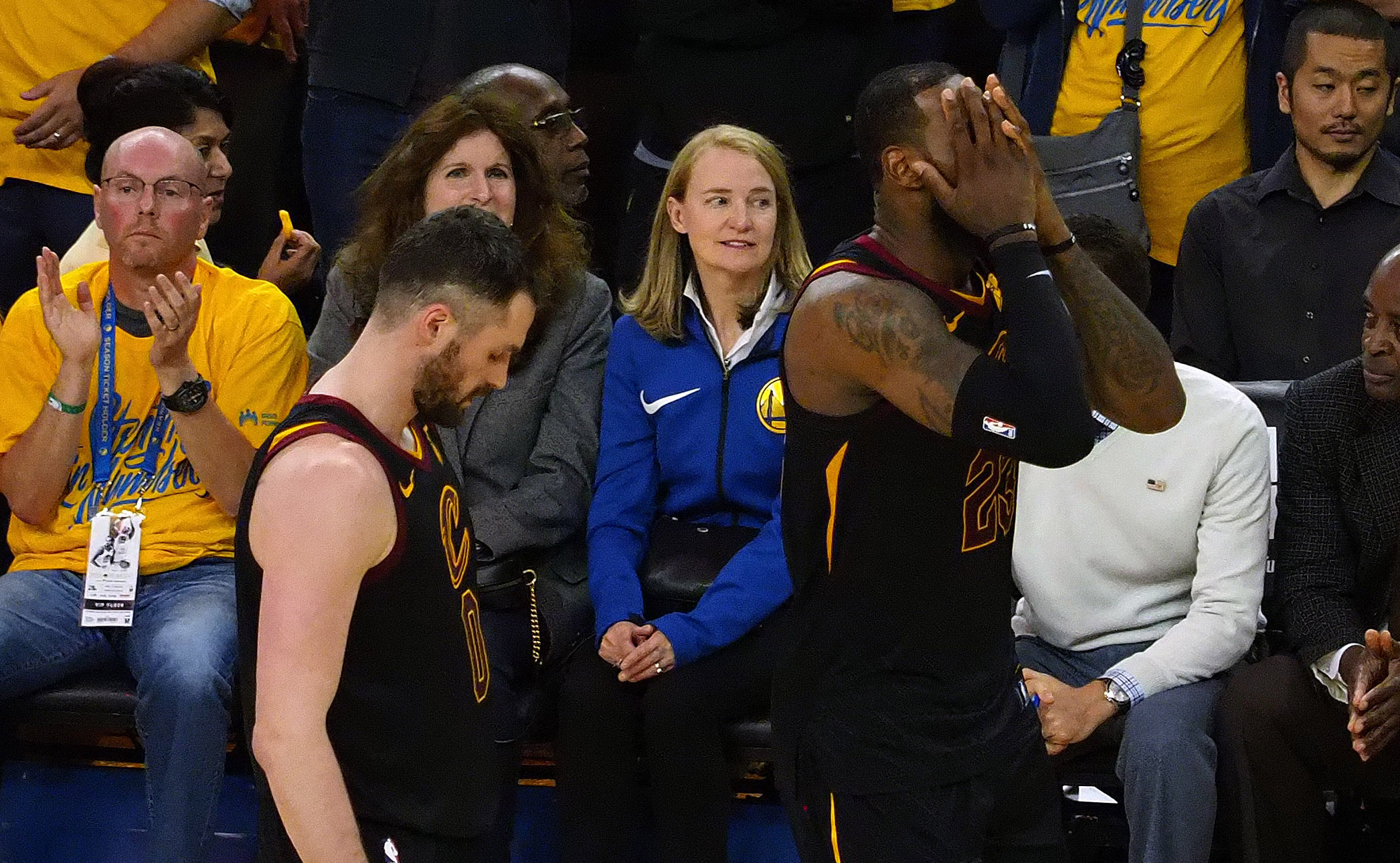 May 31, 2018; Oakland, CA, USA; Cleveland Cavaliers center Kevin Love (0) and forward LeBron James (23) react against the Golden State Warriors during overtime in game one of the 2018 NBA Finals at Oracle Arena. Mandatory Credit: Kelley L Cox-USA TODAY Sports