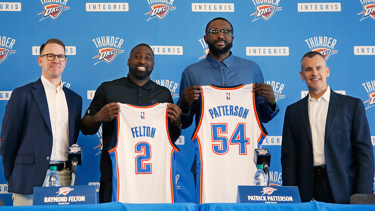 From left, Sam Presti, Oklahoma City Thunder general manager, newly signed players Raymond Felton and Patrick Patterson, and Billy Donovan, head coach, are pictured at a news conference to introduce Felton and Patterson, in Oklahoma City, Tuesday, July 11, 2017. The acquisitions of Patterson and Felton provide Oklahoma City with depth and experience heading into a critical season. (AP Photo/Sue Ogrocki)