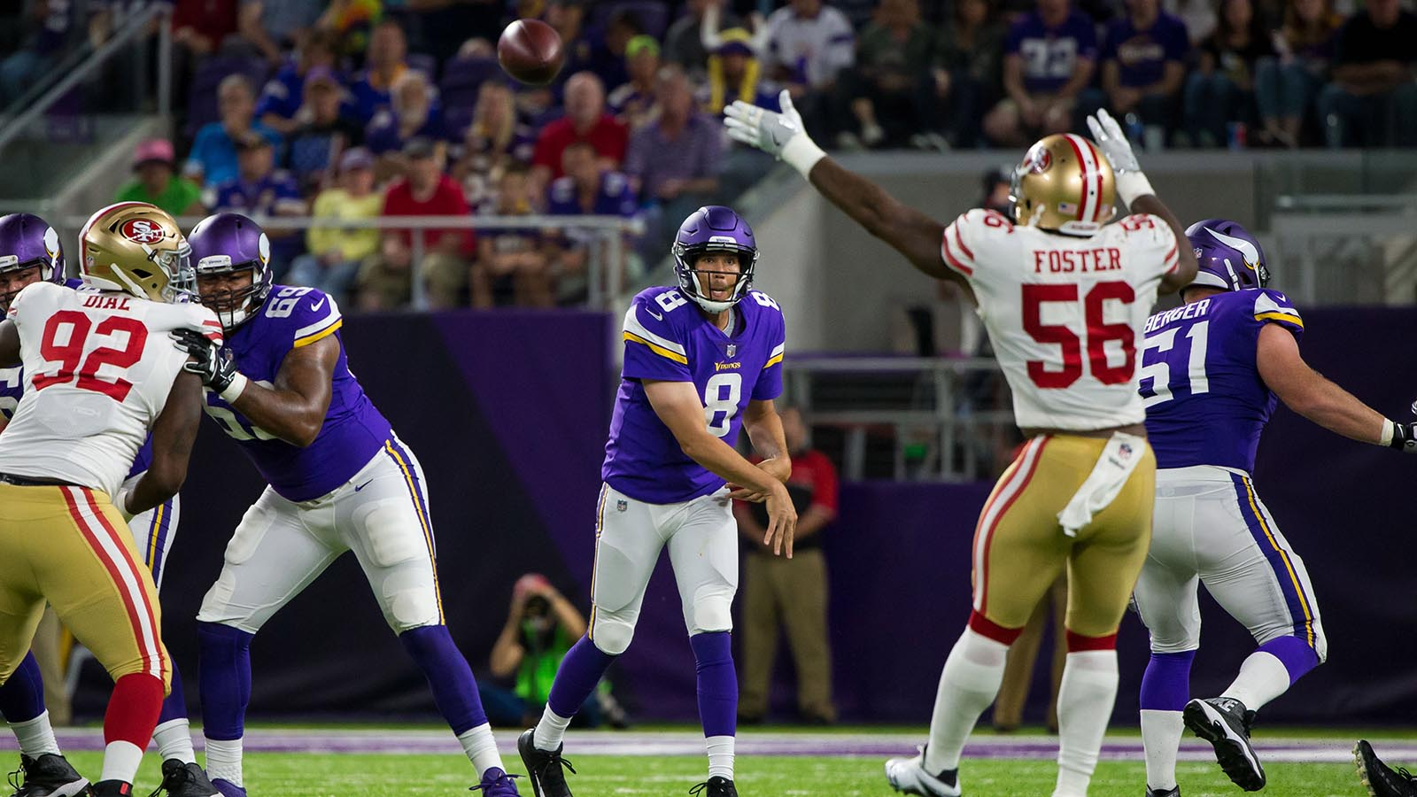 Aug 27, 2017; Minneapolis, MN, USA; Minnesota Vikings quarterback Sam Bradford (8) passes in the second quarter against the San Francisco 49ers at U.S. Bank Stadium. Mandatory Credit: Brad Rempel-USA TODAY Sports