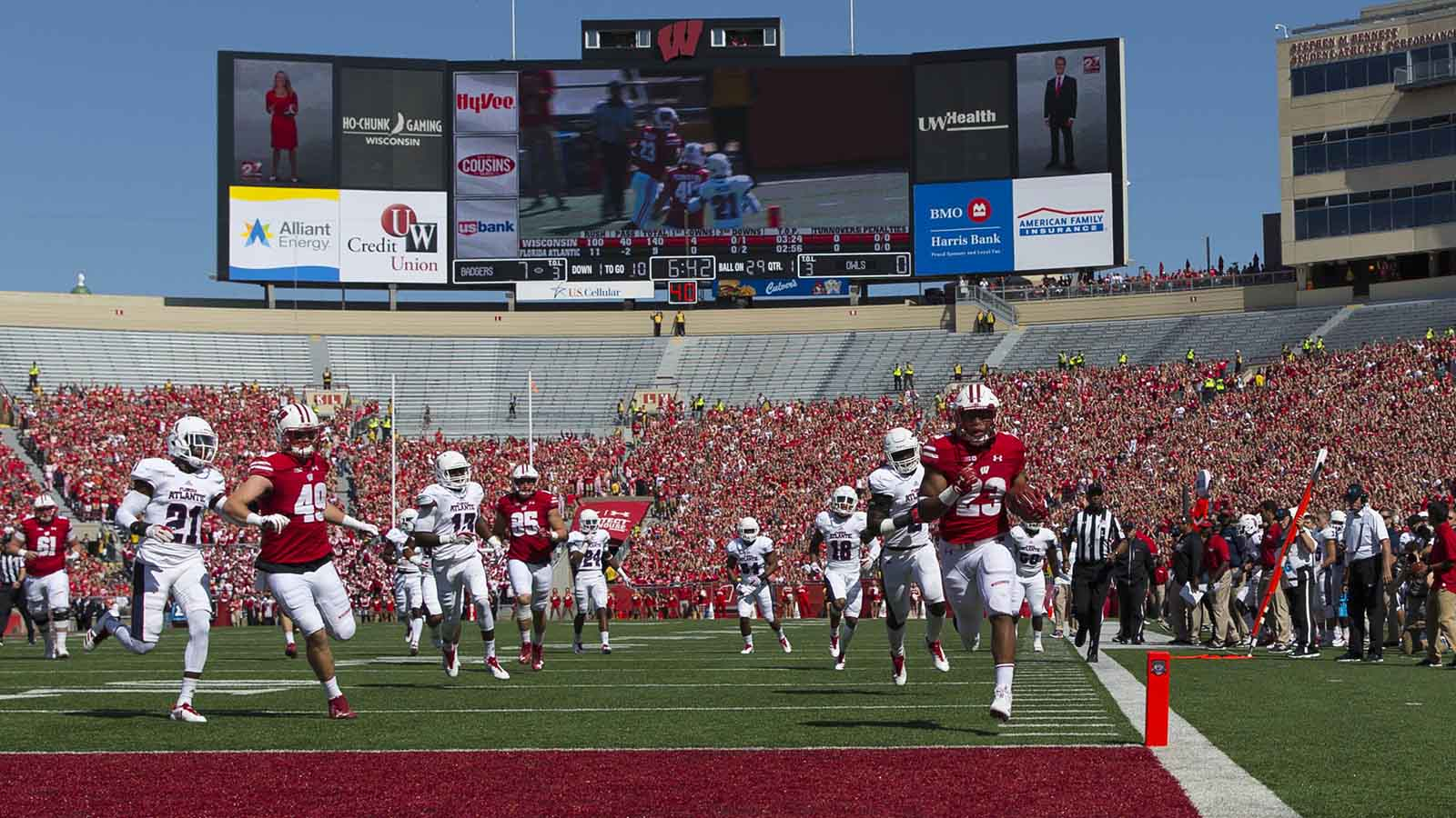 Sep 9, 2017; Madison, WI, USA; Wisconsin Badgers running back Jonathan Taylor (23) scores a touchdown during the first quarter against the Florida Atlantic Owls at Camp Randall Stadium. Mandatory Credit: Jeff Hanisch-USA TODAY Sports
