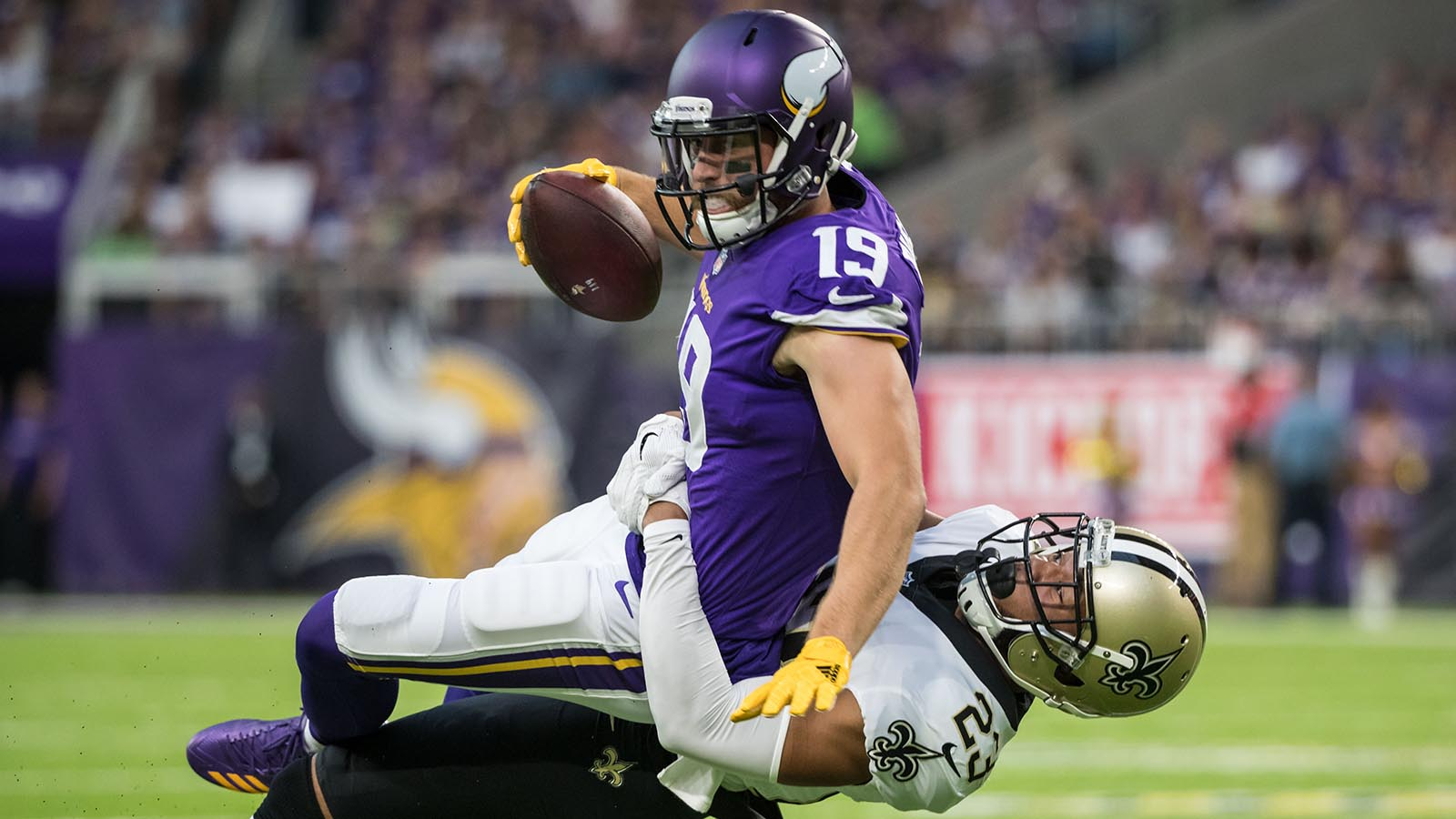 Sep 11, 2017; Minneapolis, MN, USA; Minnesota Vikings wide receiver Adam Thielen (19) is tackled by New Orleans Saints cornerback Marshon Lattimore (23) during the first quarter at U.S. Bank Stadium. Mandatory Credit: Brace Hemmelgarn-USA TODAY Sports