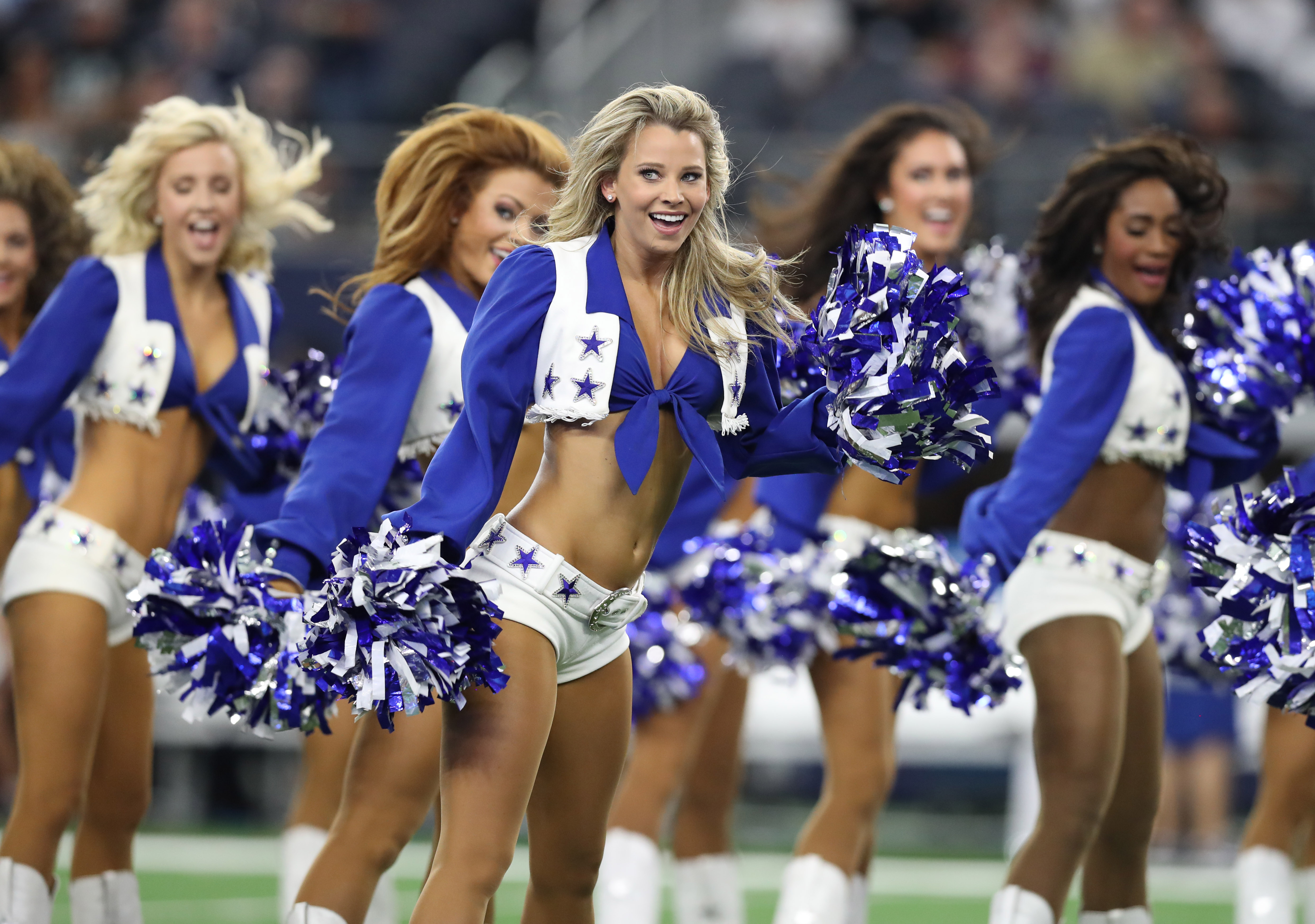 Aug 26, 2017; Arlington, TX, USA; Dallas Cowboys cheerleaders perform prior to the game against the Oakland Raiders at AT&T Stadium. Mandatory Credit: Matthew Emmons-USA TODAY Sports