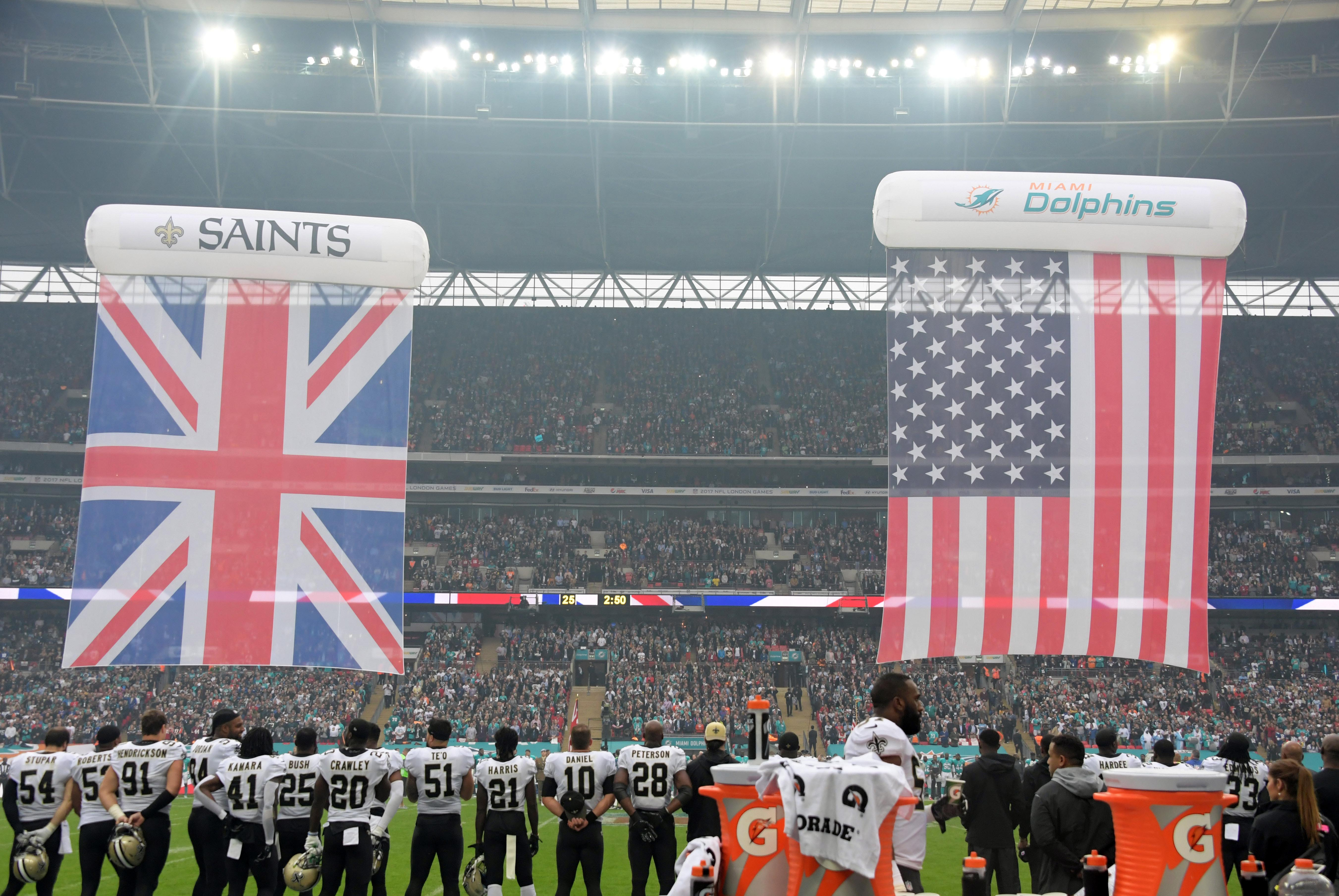 Oct 1, 2017; London, United Kingdom; New Orleans Saints players stand during the playing of the United States and British national anthems during the NFL International Series game against the Miami Dolphins  at Wembley Stadium. Mandatory Credit: Kirby Lee-USA TODAY Sports