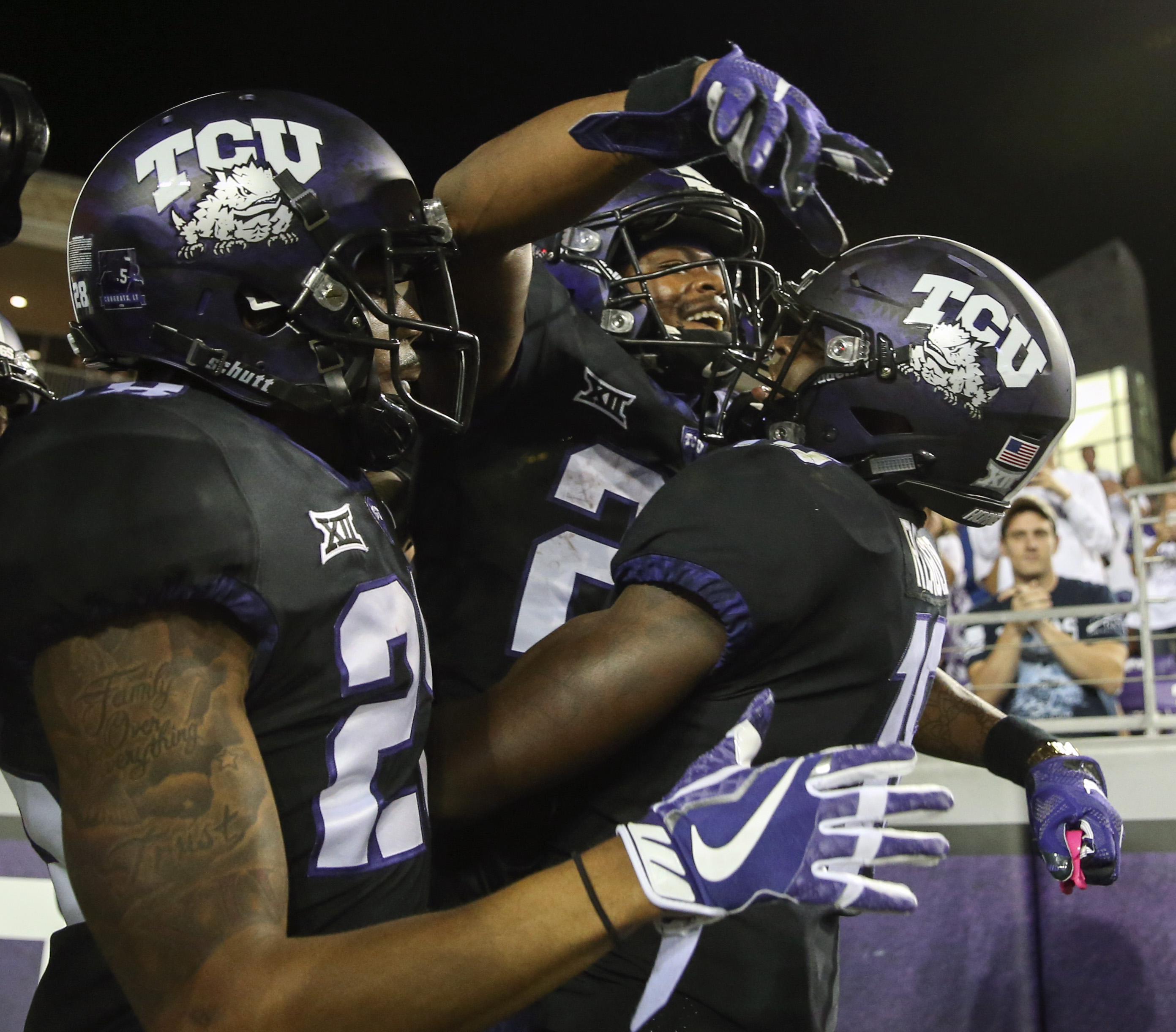 Oct 21, 2017; Fort Worth, TX, USA; TCU Horned Frogs wide receiver KaVontae Turpin (25) celebrates with teammates after scoring a touchdown during the second half at Amon G. Carter Stadium. Mandatory Credit: Kevin Jairaj-USA TODAY Sports