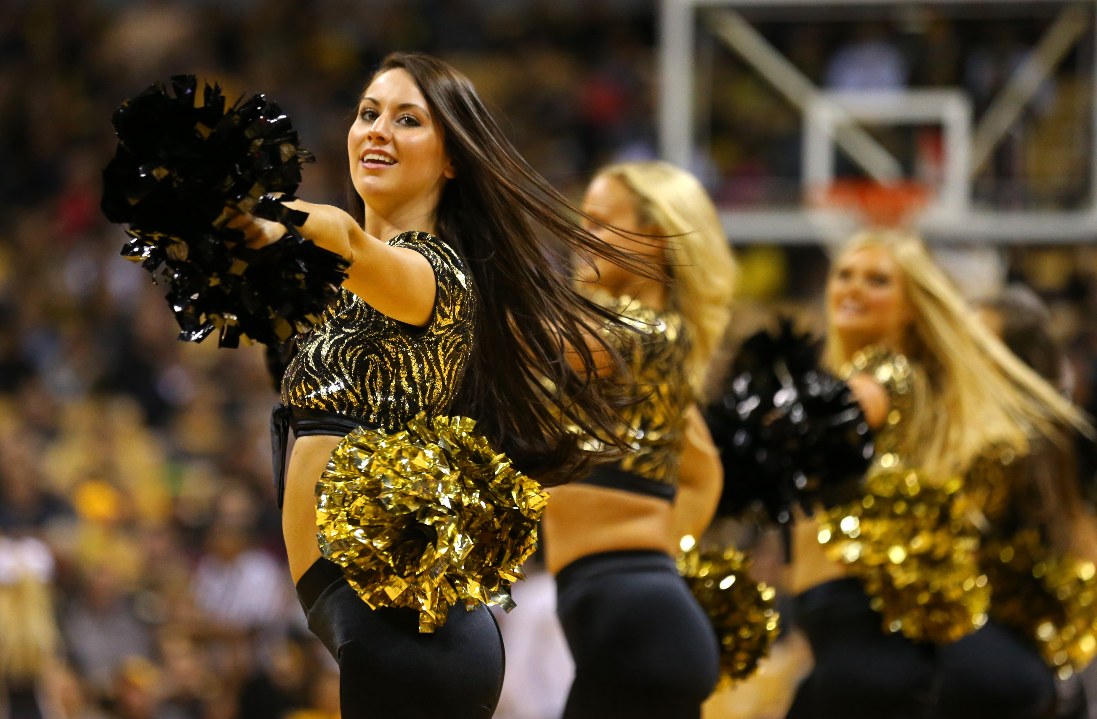 Nov 13, 2017; Columbia, MO, USA; Missouri Tigers cheerleaders perform in the first half of the game against the Wagner Seahawks at Mizzou Arena. Mandatory Credit: Jay Biggerstaff-USA TODAY Sports